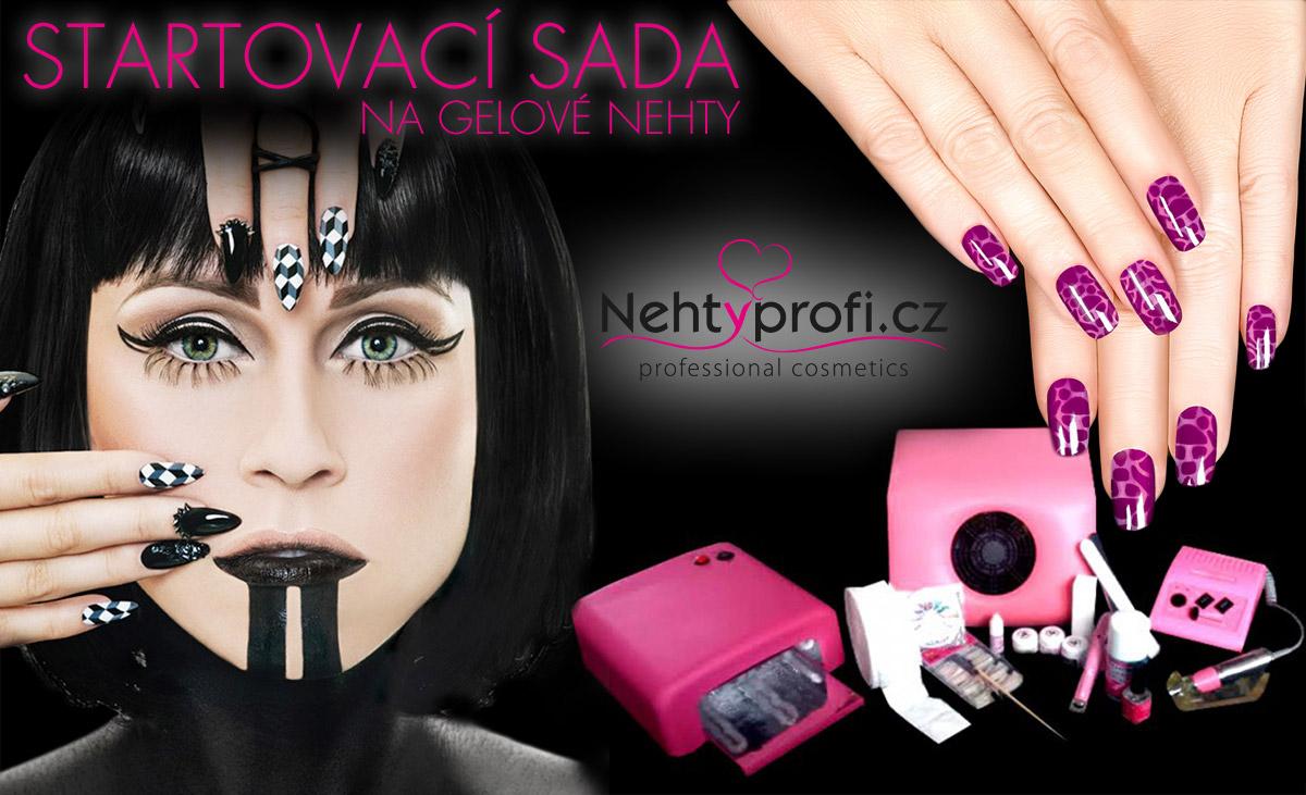 Startovací sada na gelové nehty deluxe od Nehtyprofi. cz: obsahuje UV lampu, brusku na nehty, odsávačku a další pomůcky.