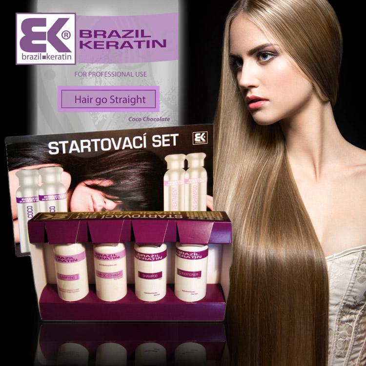 """Brazilský keratin udělá z vašich vlasů pýchu. Pokud s jeho aplikací doposud nemáte žádné zkušenosti, začněte se startovací sadou. Ta obsahuje vše, co pro aplikaci keratinu na vlasy potřebujete. Startovací sadu koupíte v e-shopu výrobce této kvalitní kosmetiky – <a href=""""http://brazilkeratin.cz/keratin-hair-go-straight/hair-go-straight-set"""" target=""""_blank""""><i>BK BEAUTY KERATIN</i></a>. Startovací sada pro stojí 1199 Kč."""