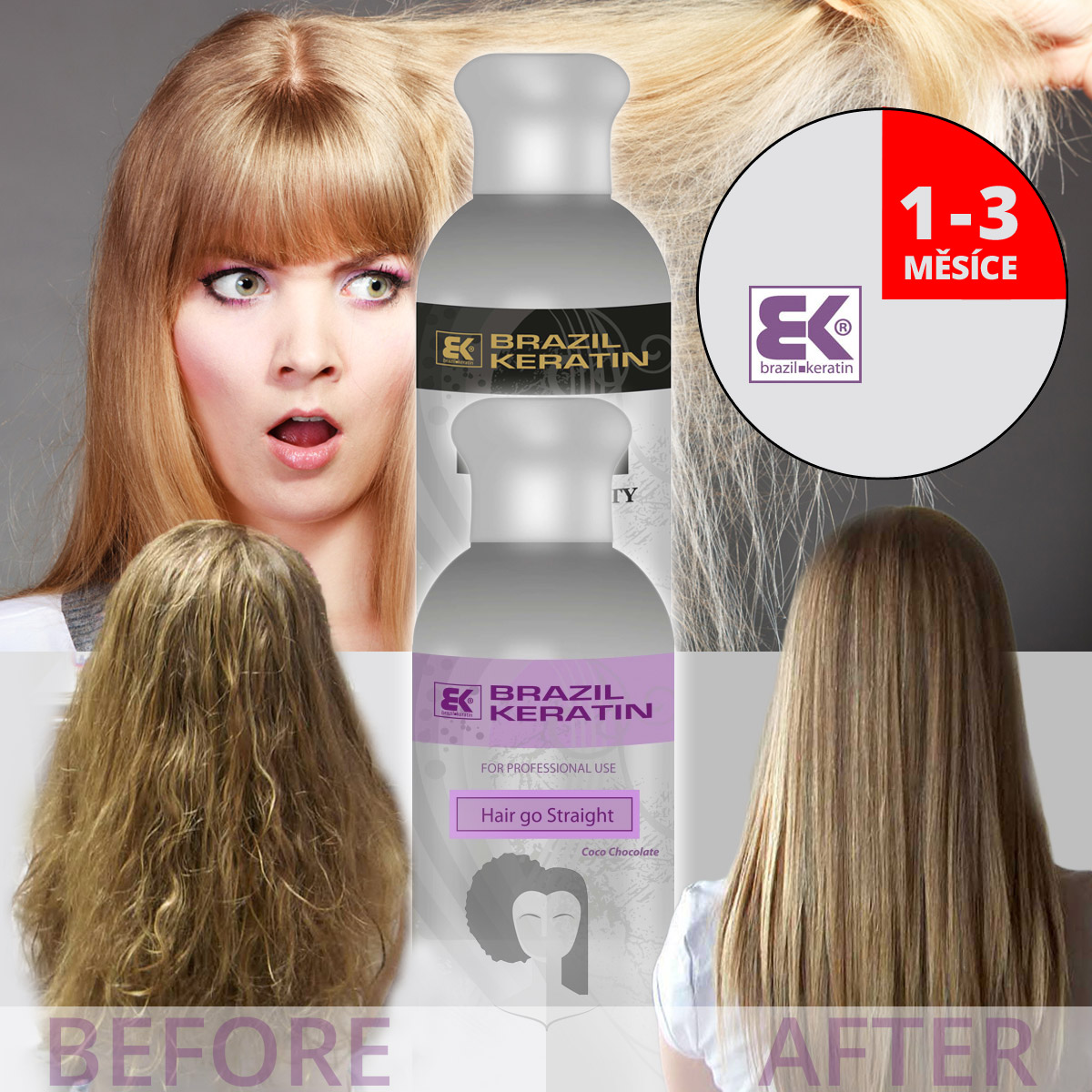 Dejte vale neukázněným a zničeným vlasům, krepatosti či nechtěnému vlnění vlasů. Brazilský keratin je cestou k uhlazeným a zregenerovaným vlasům na jeden až tři měsíce. Vaše vlasy budou snadněji udržovatelné, zdravější, lesklejší a krásnější. Aplikovat keratin na vlasy lze na přirozeně zvlněné a kudrnaté vlasy, stejně jako na problematické rovné vlasy.