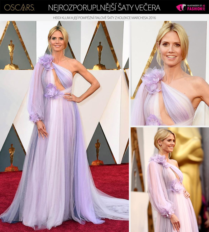 Oscar 2016 a nejrozporuplnější šaty večera – oblékla je modelka Heidi Klum a jsou z kolekce Marchesa 2016.