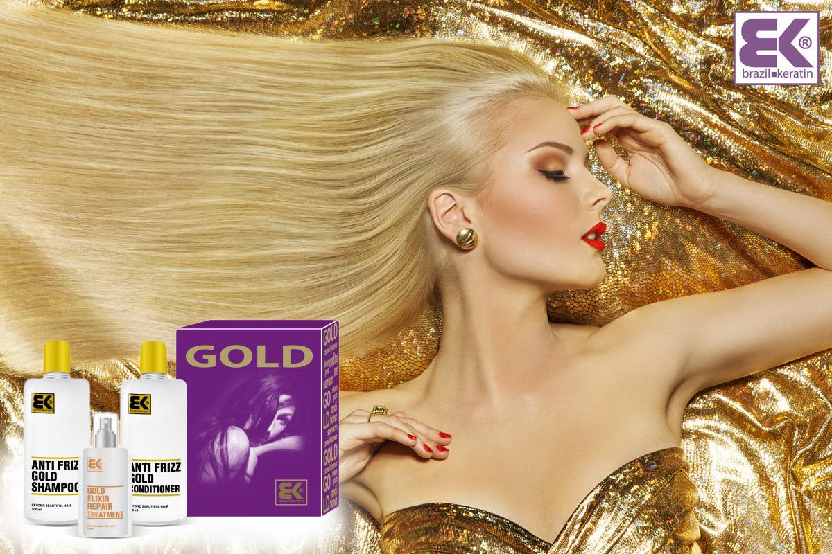 Brazil Keratin set Gold je program péče o vlasy ze sortimentu BK BEAUTY KERATIN obsahující vzácné oleje. Ty si poradí s nepoddajnými vlasy se sklonem ke krepatění. Set obsahuje šampón, kondicionér a Gold elixír. BK BEAUTY KERATIN nabízí i další sety vhodné pro jiné typy vlasů a řešení jejich problémů.