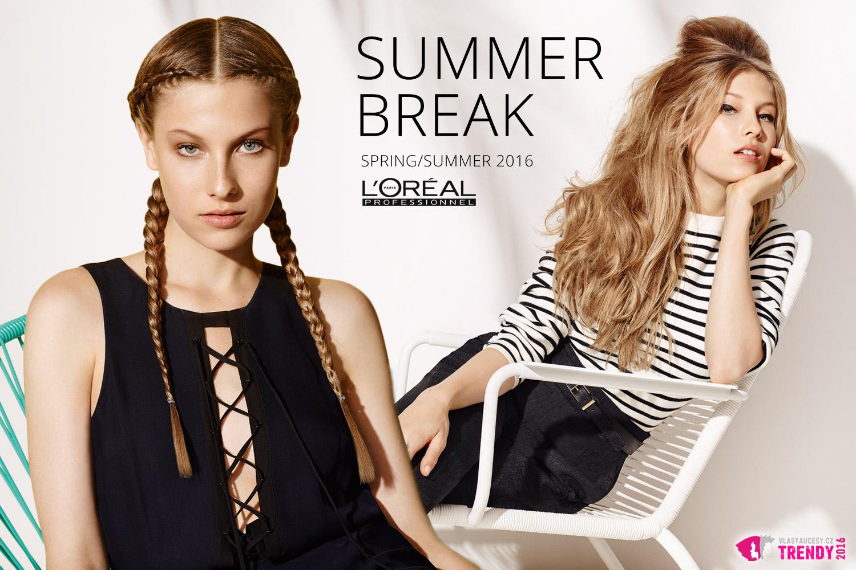 Co je trochu retro, to je moderní. Inspiraci najdete v kolekci Summer Break ss 2016 od L'Oréal Professionnel. (Účes Double Braid, Baby Doll.)