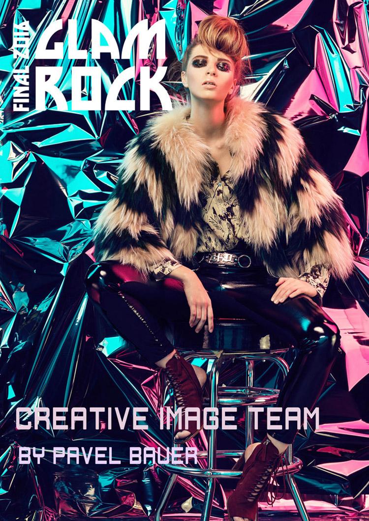 Jádrem tématu Glam Rock jsou radikální až šokující kombinace kůže, metalických materiálů, kovových nebo pestrobarevných doplňků, zipů a výrazných vzorů.