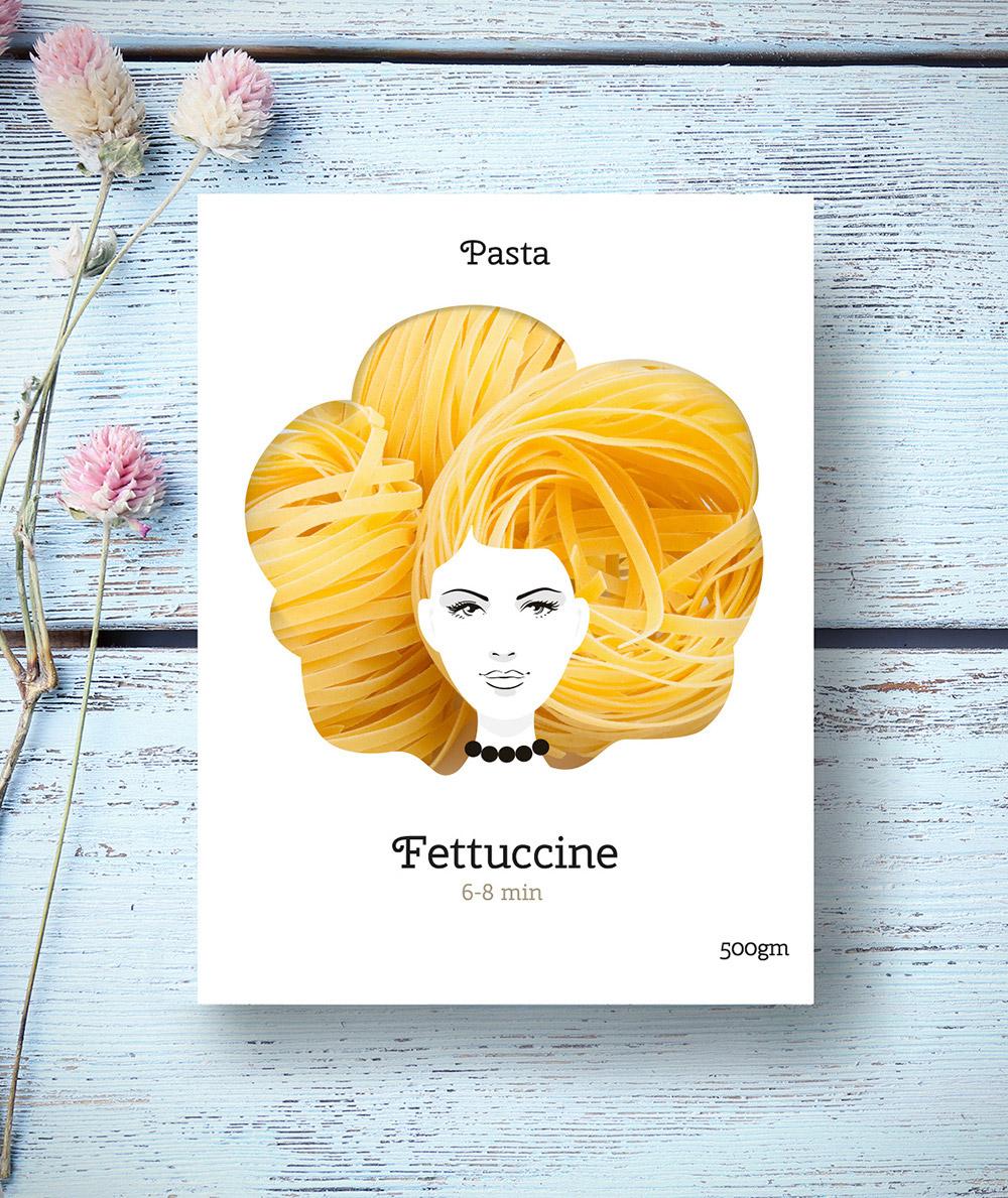 Těstovinové účesy: Vlnité vlasy pro fettuccine, čili nudle. (Design: Nikita Konkin.)