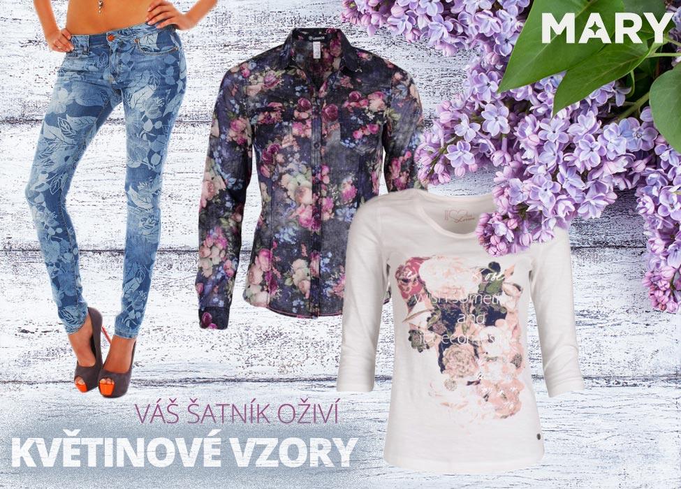 Váš šatník na jaře oživí květinové vzory. Dají se nosit všude a na všem. (Oblečení na obrázcích koupíte v e-shopu Mary-fashion.cz.)