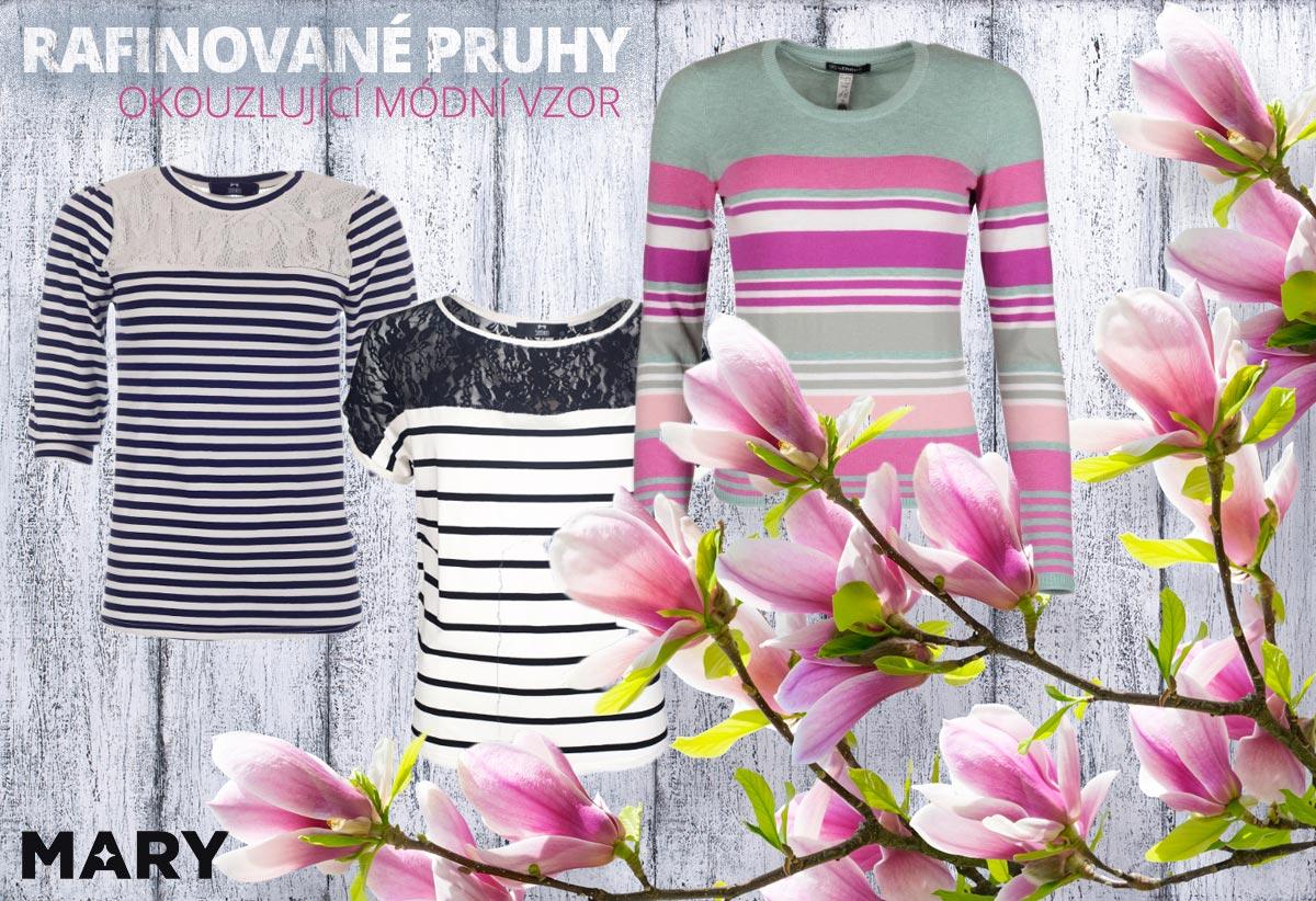 Pruhy jsou rafinovaný módní vzor, kterým můžete okouzlovat i letos na jaře. (Oblečení na obrázcích koupíte v e-shopu Mary-fashion.cz.)