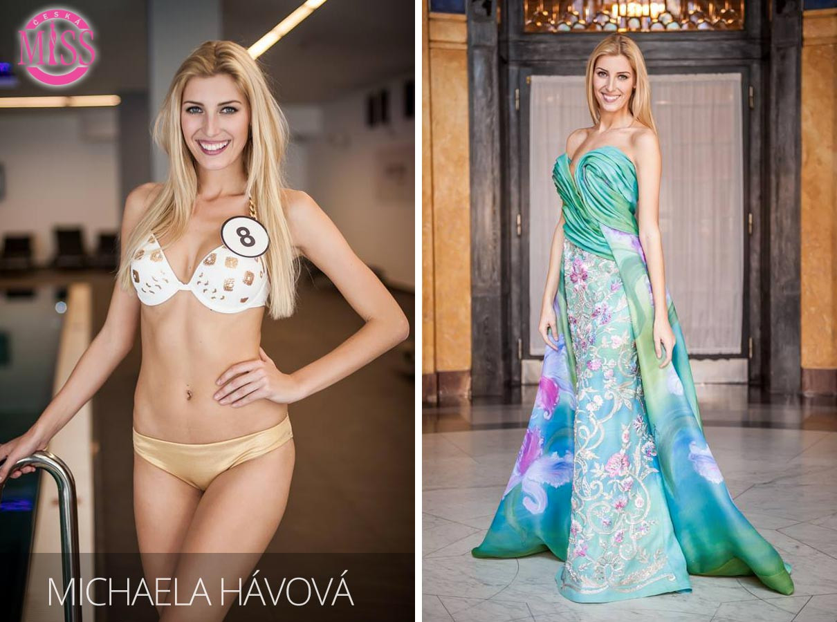 "Finalistka č.8 Česká Miss 2016 Michaela Hávová (plavky: <a href=""http://www.anrdoezrs.net/links/7863143/type/dlg/http://www.astratex.cz/plavky/"" target=""_blank"">Astratex</a>, šaty: Blanka Matragi)"