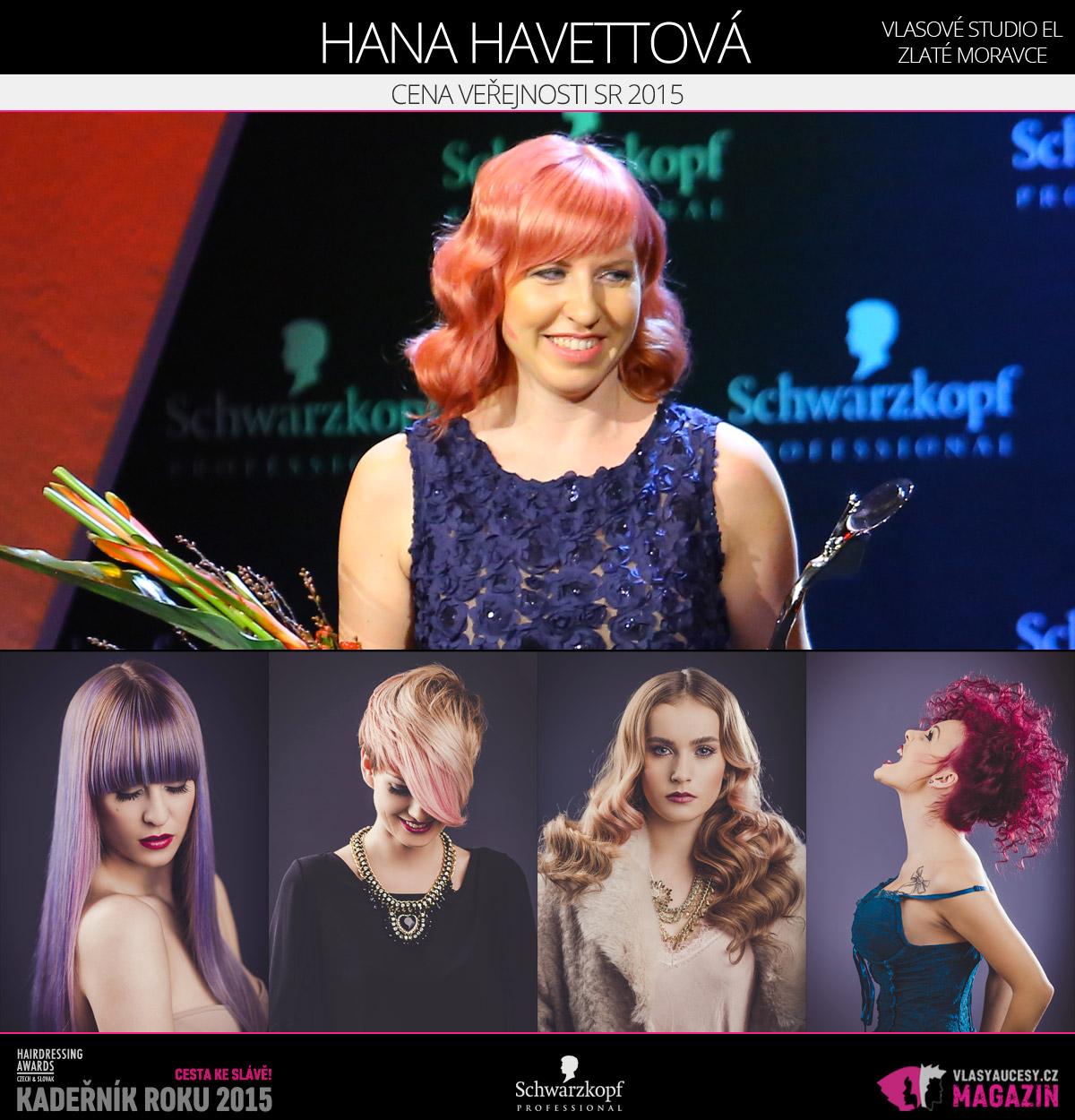 Vítězem v kategorii Cena veřejnosti SR Czech and Slovak Hairdressing Awards 2015 Hana Havettová z Vlasového studia EL ve Zlatých Moravcích.
