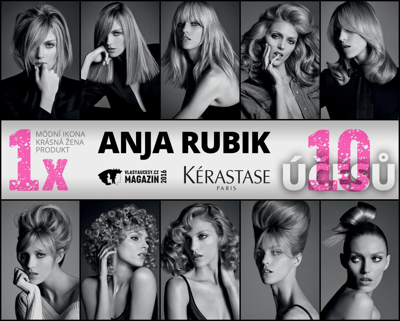 """Účesy Anja Rubik 10x jinak: """"Nejlepší při focení bylo vidět sama sebe měnit se na různé tipy žen aobjevit vsobě různé osobnosti avýrazy."""" (Anja Rubic)"""