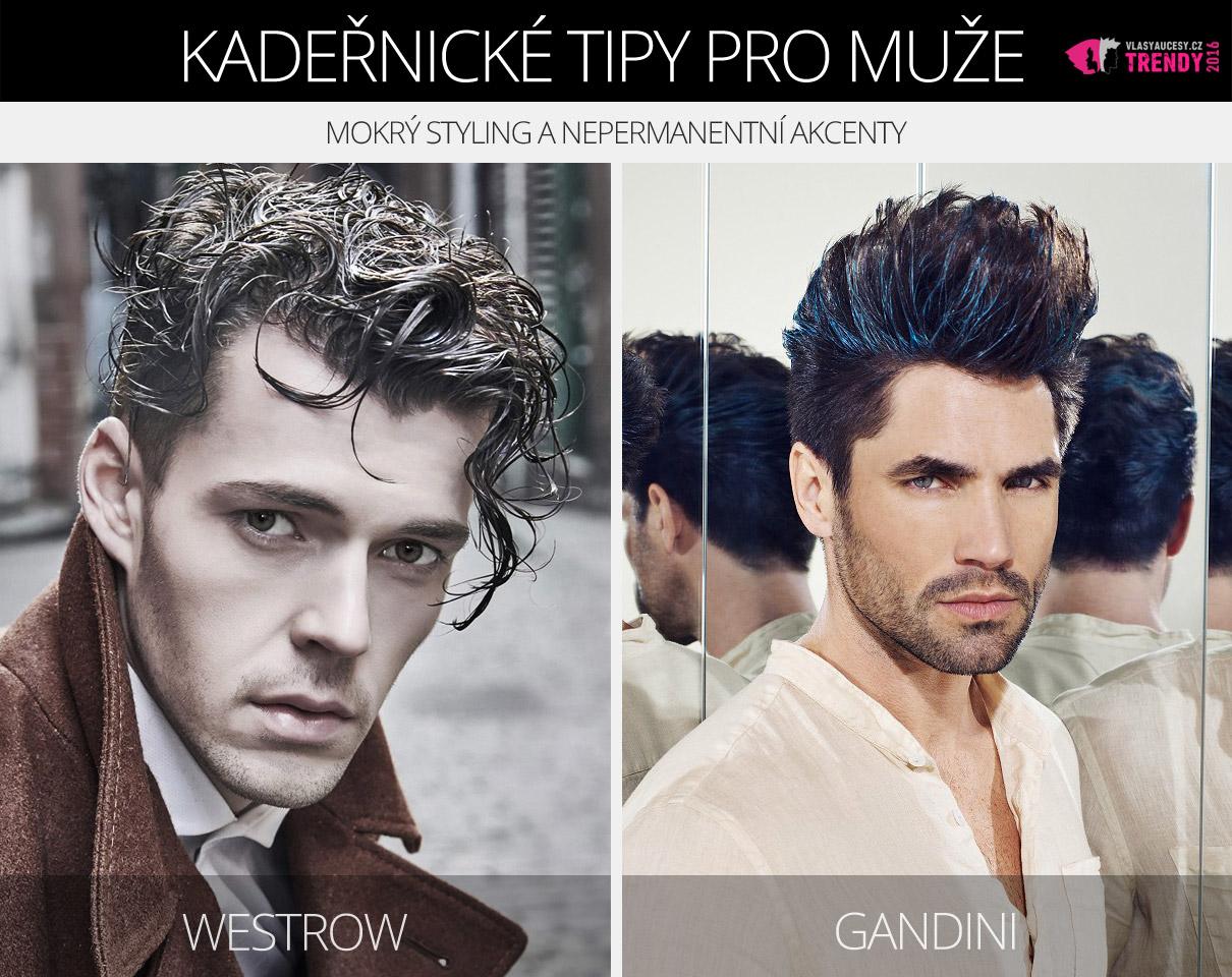 Pánské účesy z kolekcí Westrow a Gandini oživuje mokrý styling a nepermanentní akcenty.