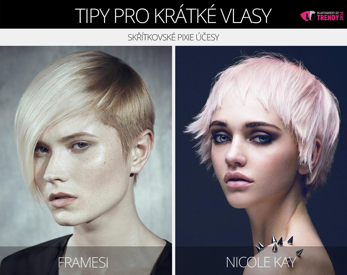 Pixie střihy pro krátké vlasy z kolekcí Framesi a Nicole Kay.
