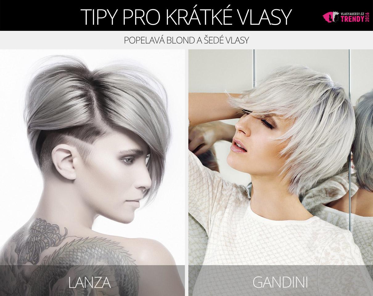 Krátké šedé vlasy v účesech Lanza a Gandini.