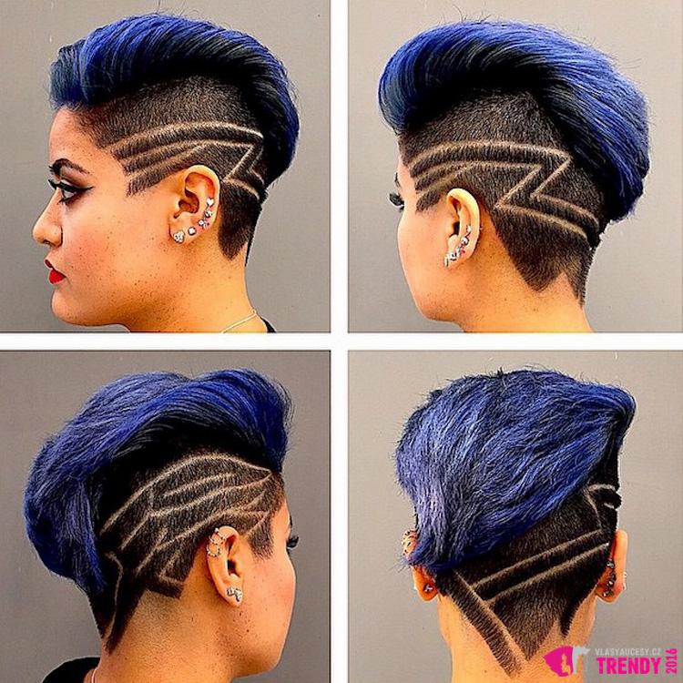 Podholené vlasy s tattoo budou chtít vašeho kadeřníka vidět častěji než vy sama.