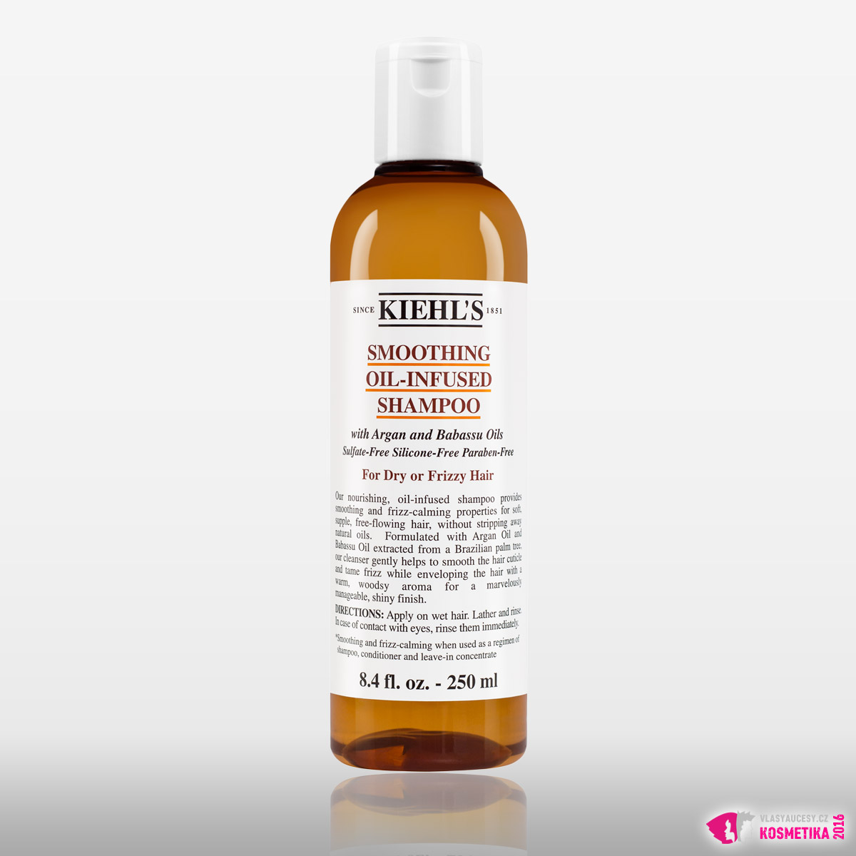 Šampon pro suché vlasy Kiehl's Smoothing Oil-Infused Shampoo.