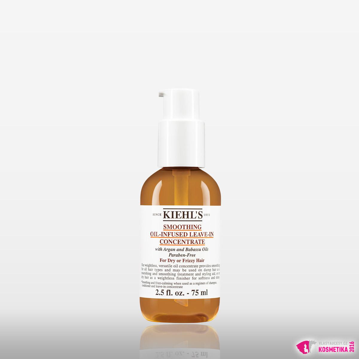 Bezoplachová péče pro suché vlasy Kiehl's Smoothing Oil-Infused Leave-In Concentrate.