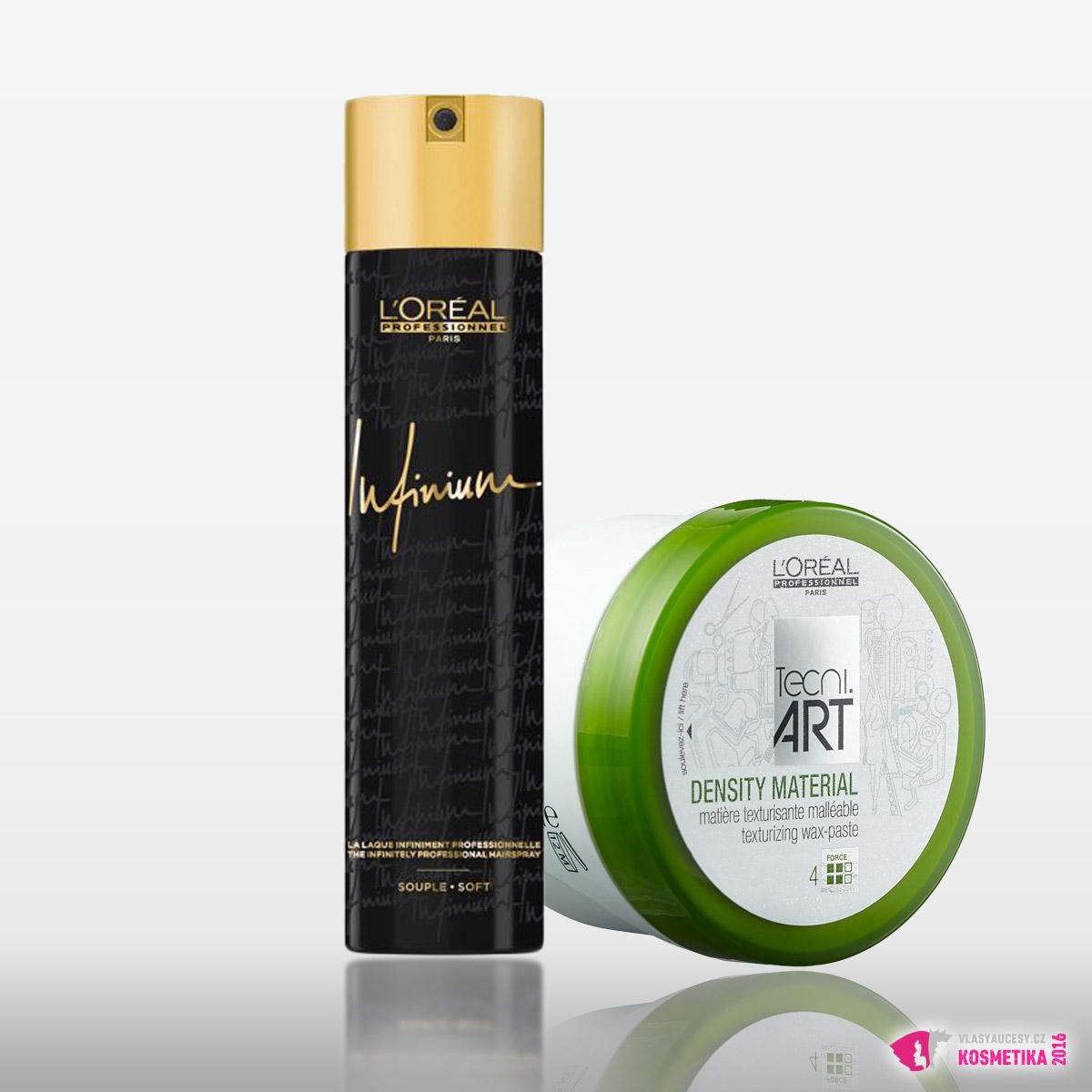 Použité produkty L'Oréal Professionnel: lak Infinium EXTRA STRONG a matující vosková pasta Density Material