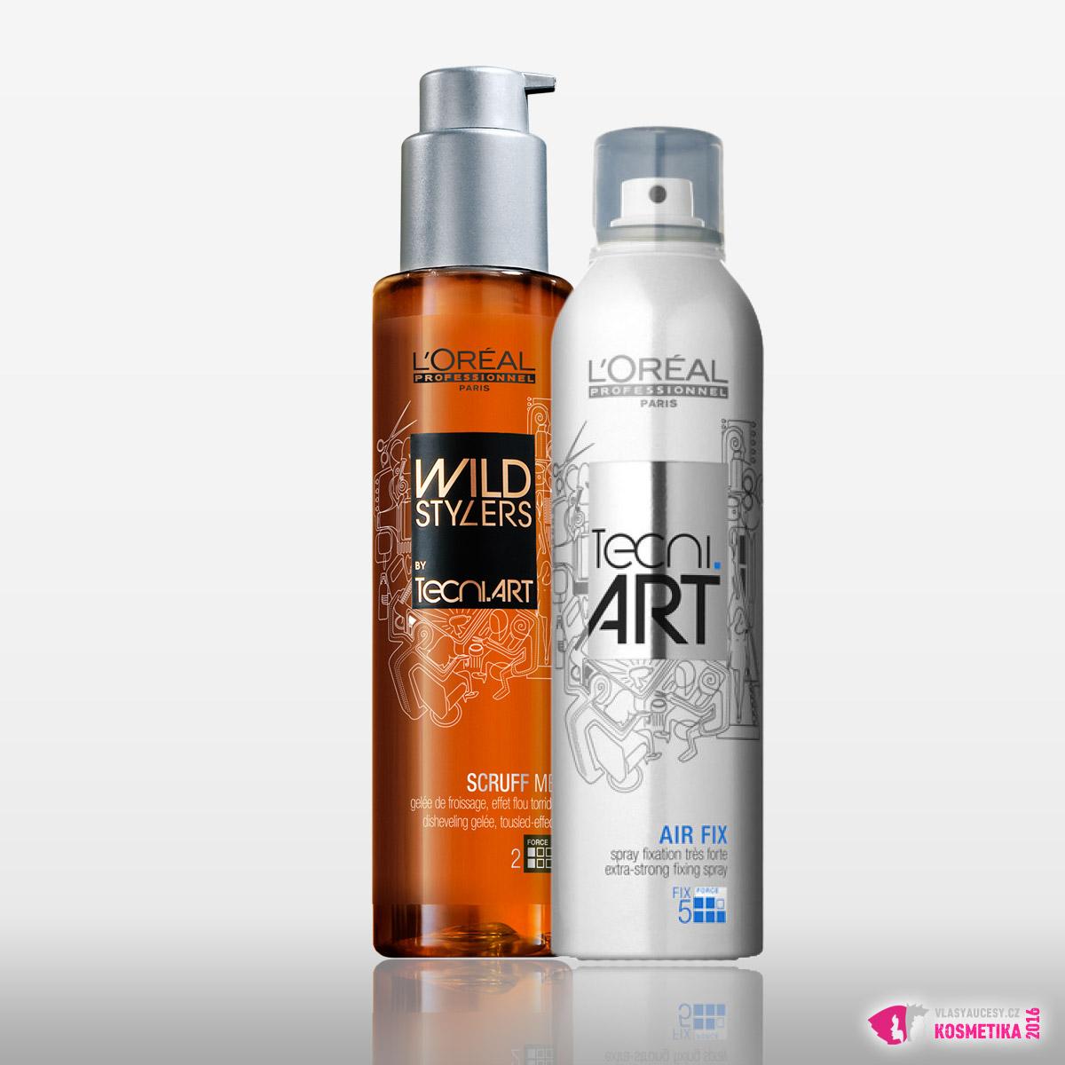 Použité produkty L'Oréal Professionnel: gel pro rozcuchaný vzhled Scruff Me a sprej se silnou fixací Air Fix