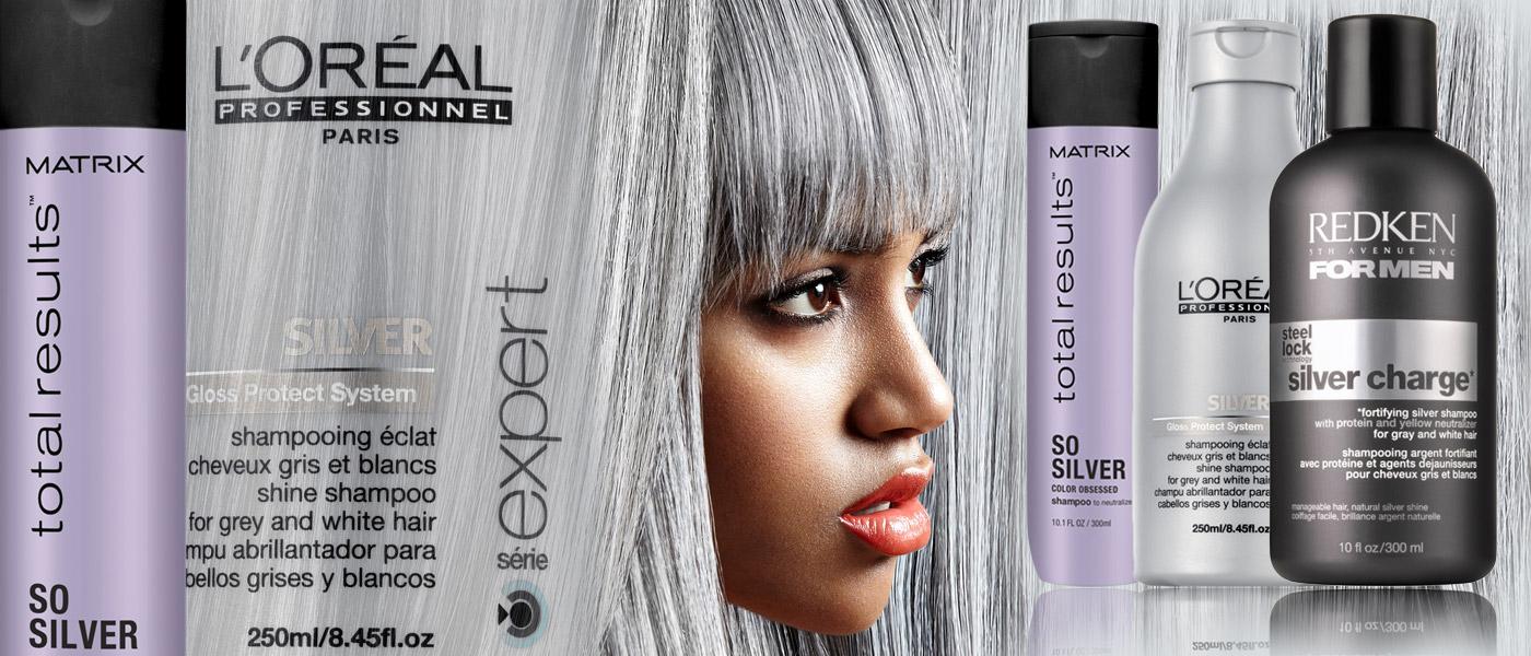Šedivé vlasy i módní šedé vlasy potřebují speciální péči. Studené odstíny bez teplých tónů a žlutých odlesků pomůže udržet stříbrný šampon.