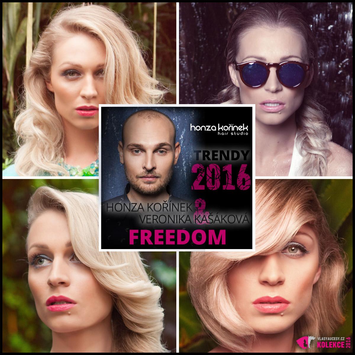 Modelka Veronika Kašáková a účastnice finále soutěže Česká Miss v kolekci Freedom 2016 od známého kadeřníka Honzy Kořínka