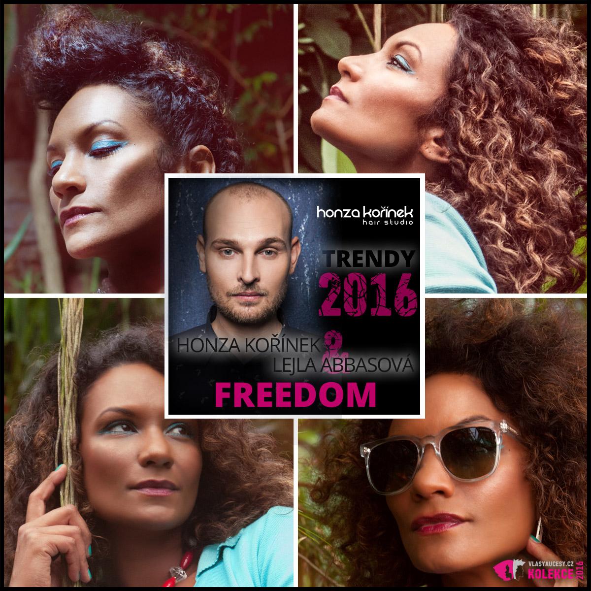 Modelka Lejla Abbasová v kolekci Freedom 2016 od známého kadeřníka Honzy Kořínka