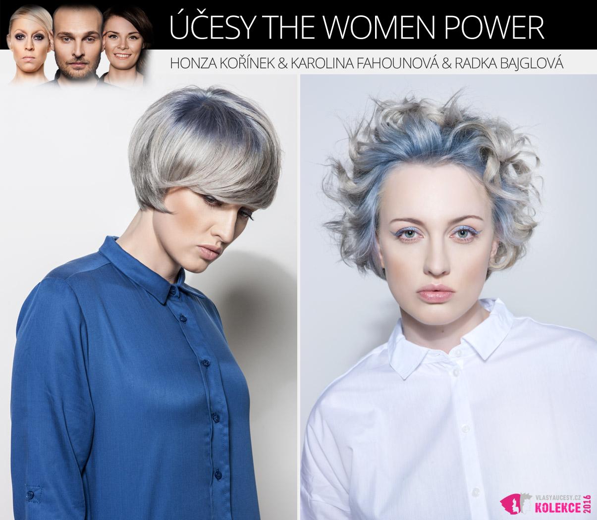 Candy blond jako kombinace blond a pastelových barev. V kolekci The Women Power by Honza Kořínek vidíte dokonalou kombinaci šedé blond se studeným modrým pastelem.