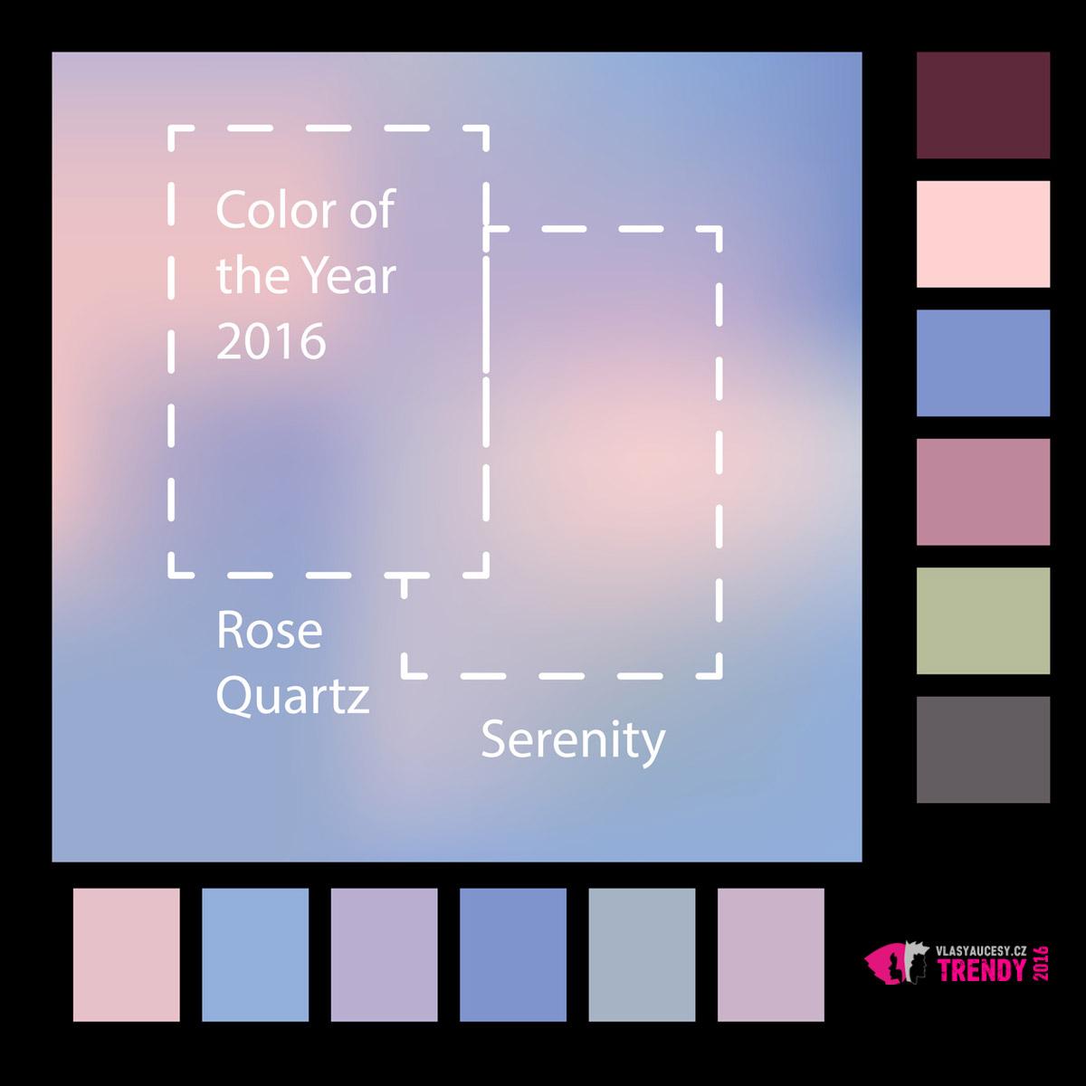 Nebojte se kombinovat barvy v účesech. Rose Quartz a Serenity si rozumí i s dalšími odstíny růžové a modré nebo s jinými barvami.