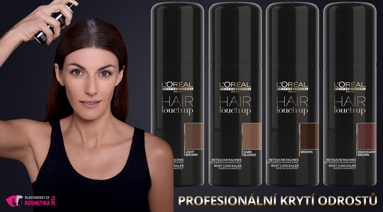 """L'Oréal Professionnel přichází s profesionálním krytím odrostů. Umožní vám prodloužit si krásu barvených vlasů bez nevzhledných a """"pravou barvu"""" prozrazujících odrostů. Čekání na nový termín u kadeřníka, či na chvíli, kdy se konečně sama dostanete k barvení vlasů, vám pomůže nový krycí sprej Hair Touch Up!"""