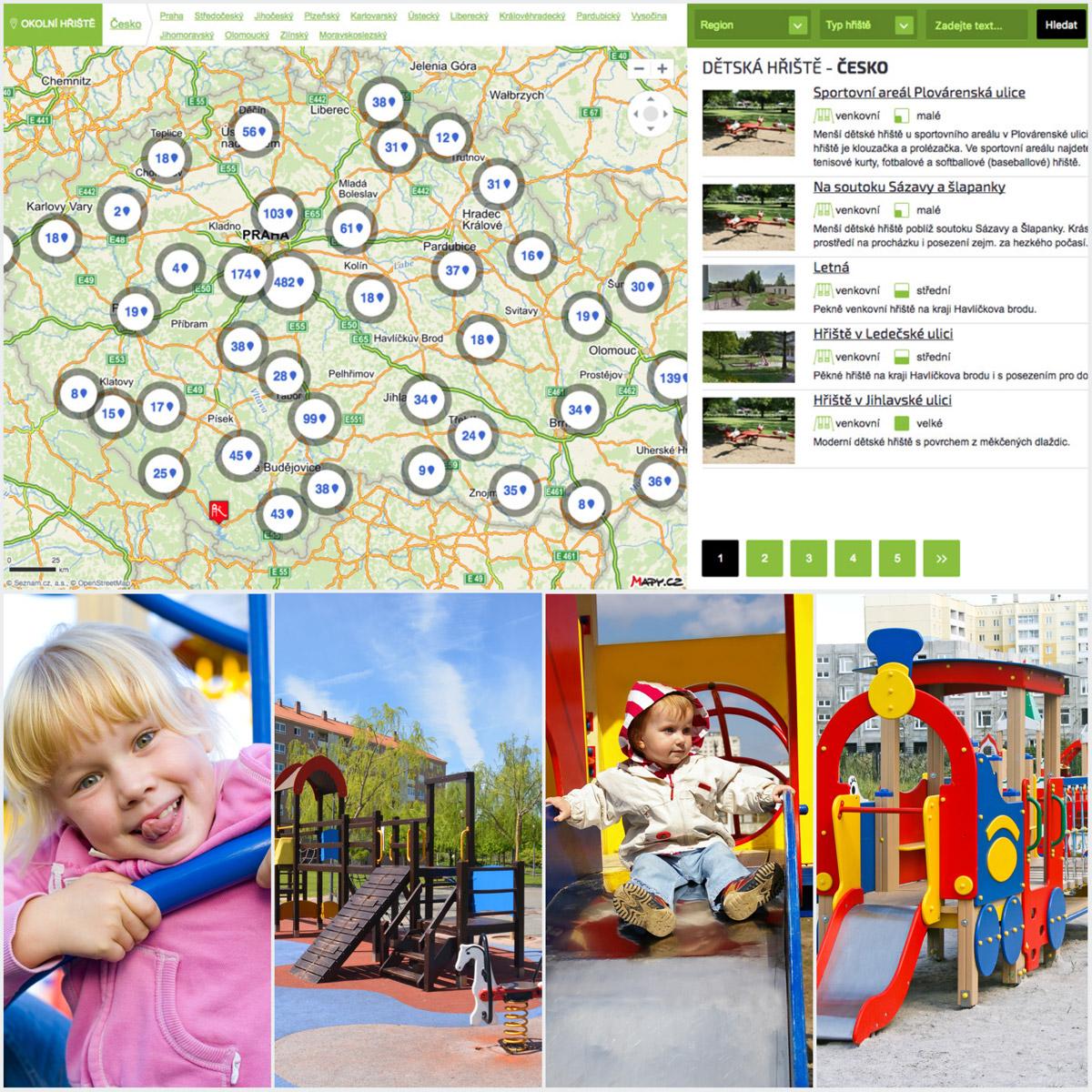 Najděte si oblíbená hřiště na velké mapě dětských hřišť v České republice.