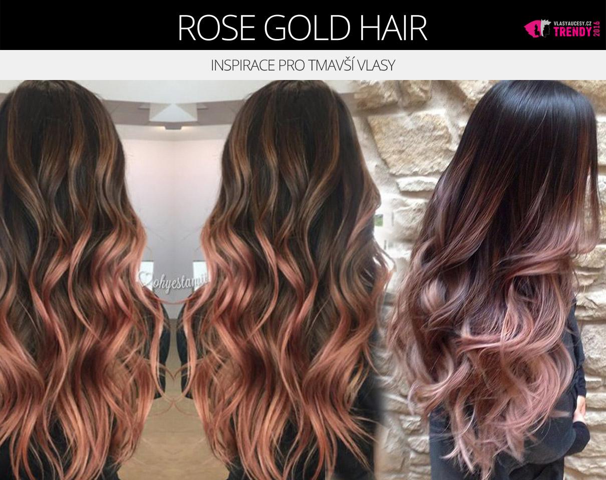 Barva rose gold hair sluší i tmavovláskám.
