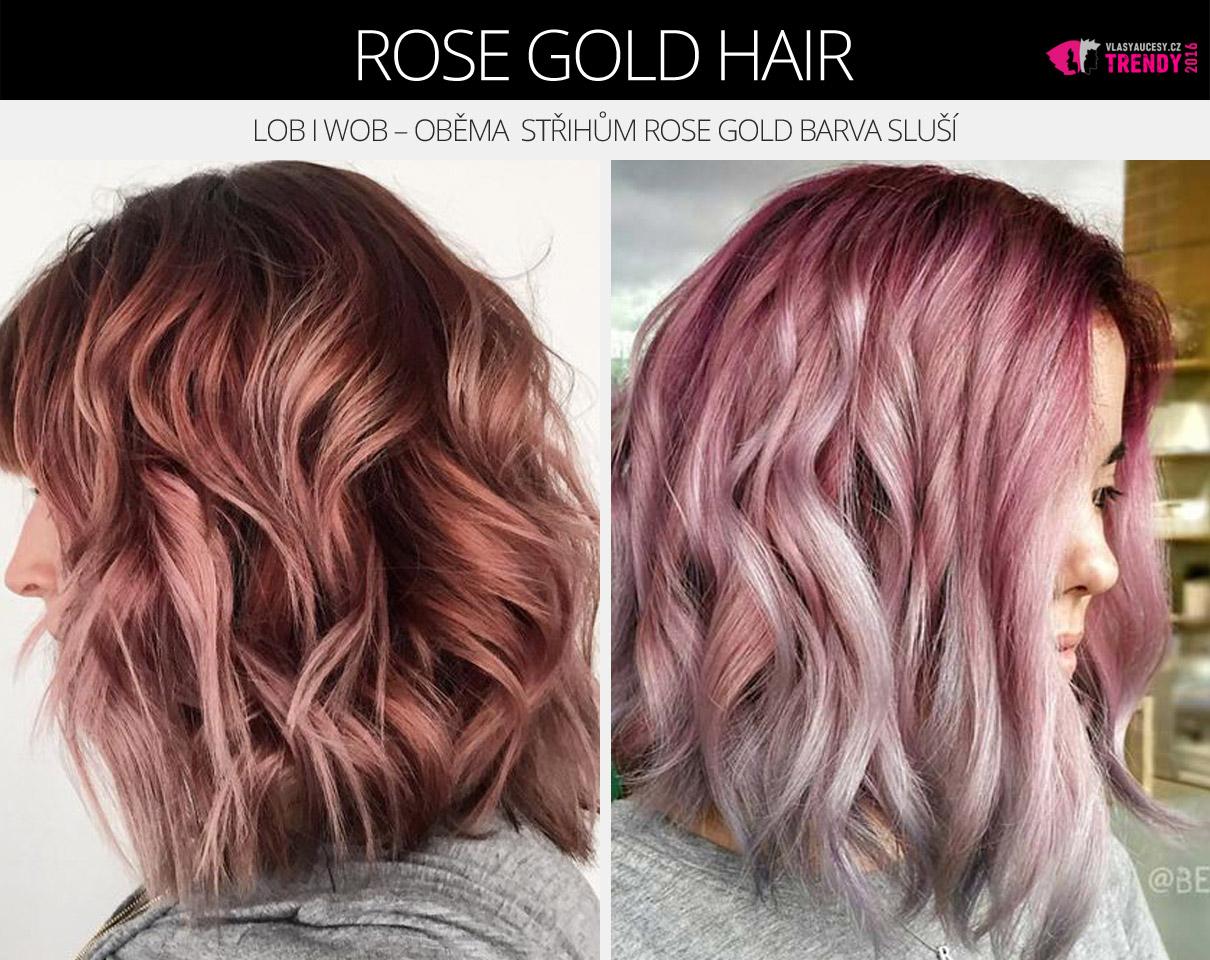 Lob i wob – oběma moderním střihům rose gold barva vlasů skutečně sluší.