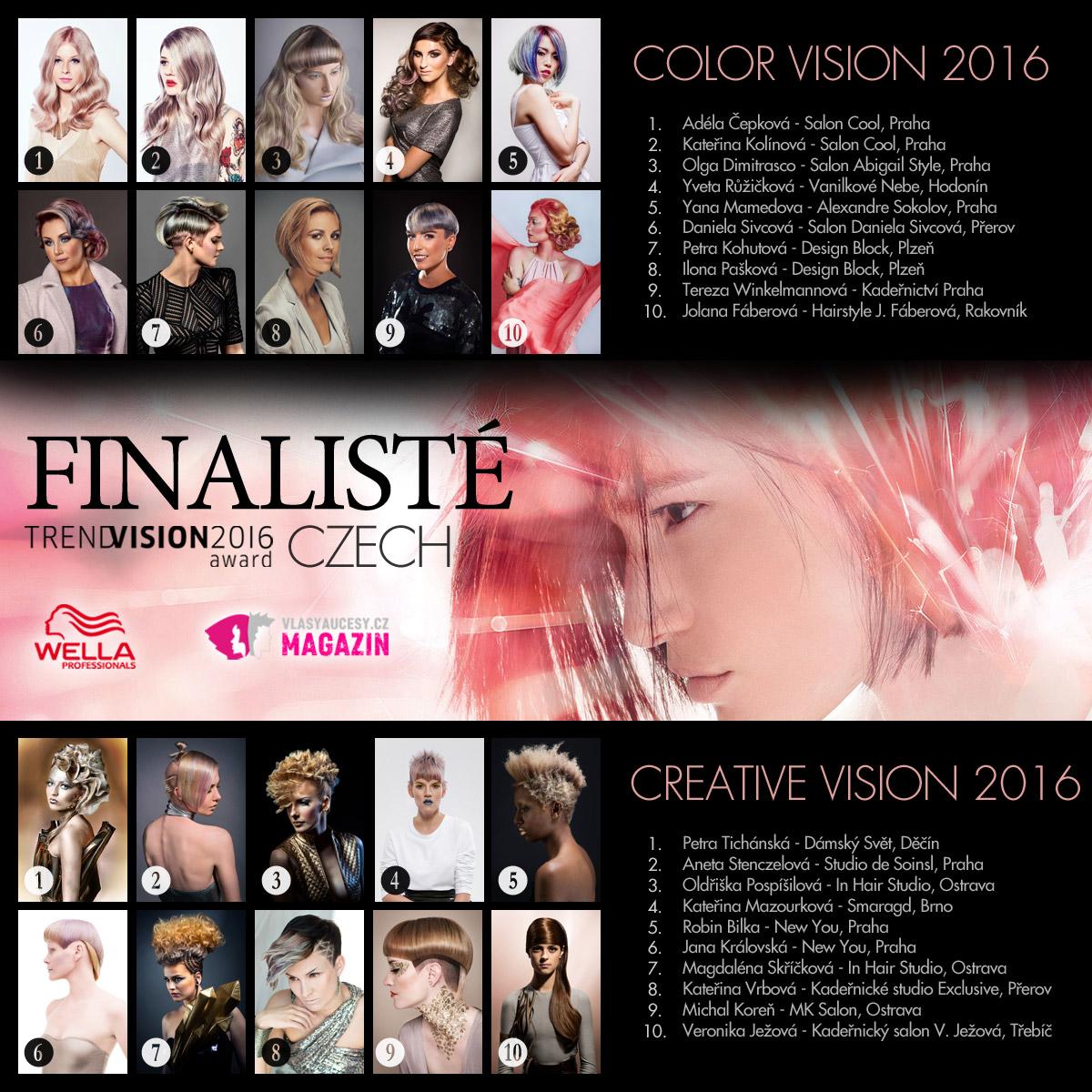 Nejlepší účesy Wella Professionals Trend Vision Award Česká republika 2016 – toto jsou letošní finalisté.