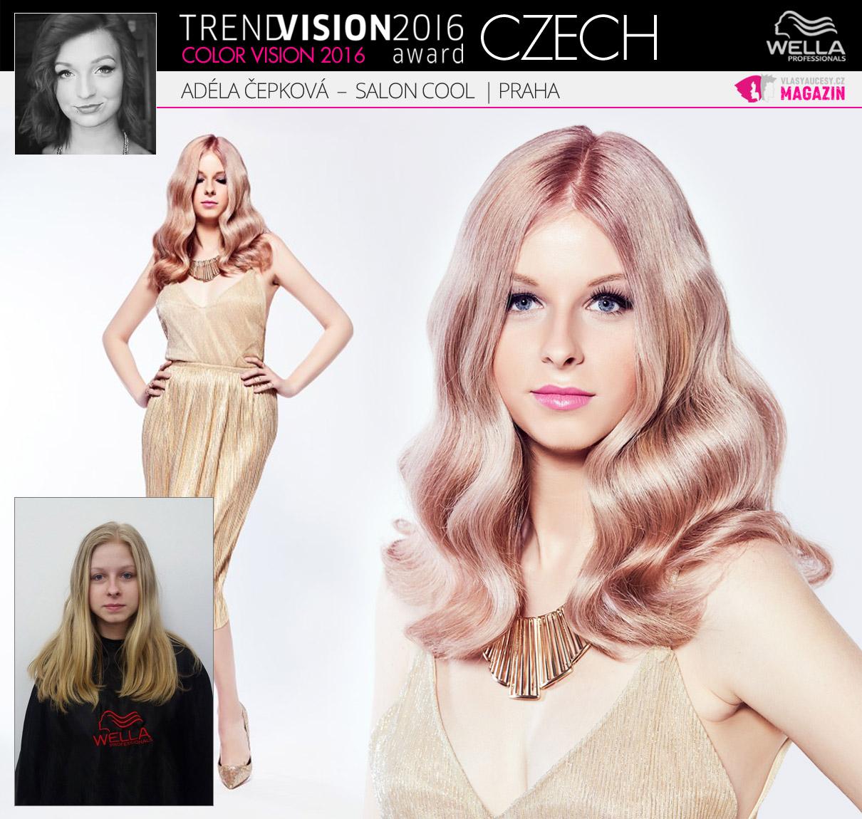 Adéla Čepková, Salon Cool, Praha –Wella Professionals Trend Vision Award Česká republika, kategorie Color Vision 2016.