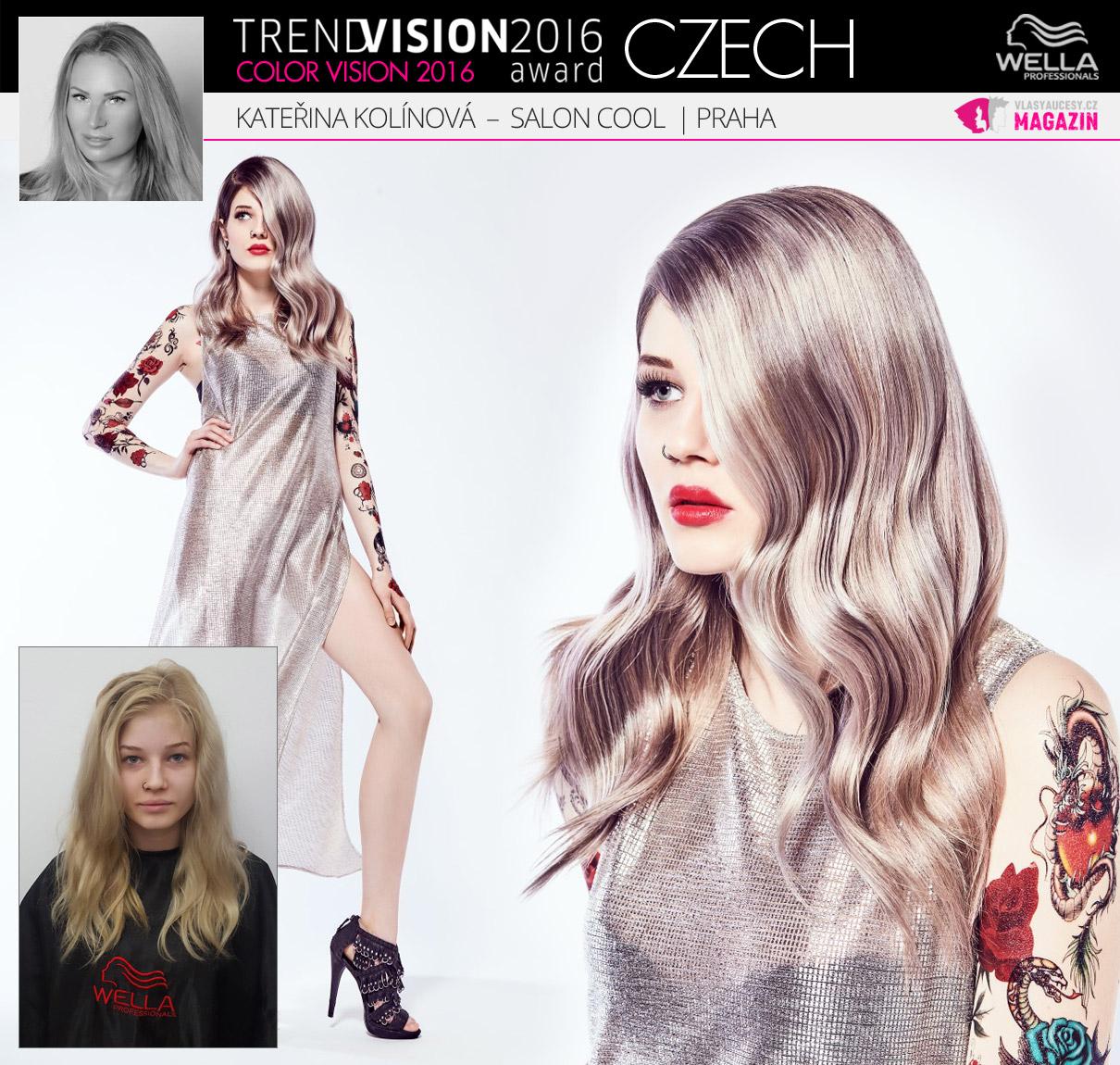 Kateřina Kolínová, Salon Cool, Praha –Wella Professionals Trend Vision Award Česká republika, kategorie Color Vision 2016.