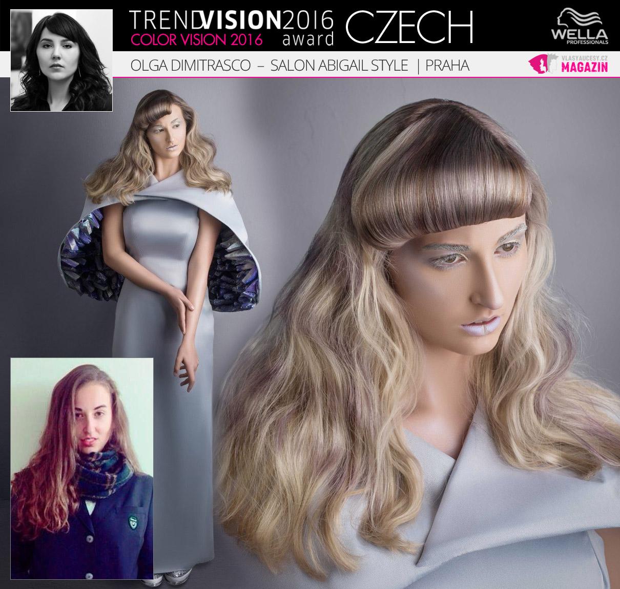 Olga Dimitrasco, Salon Abigail Style, Praha –Wella Professionals Trend Vision Award Česká republika, kategorie Color Vision 2016.