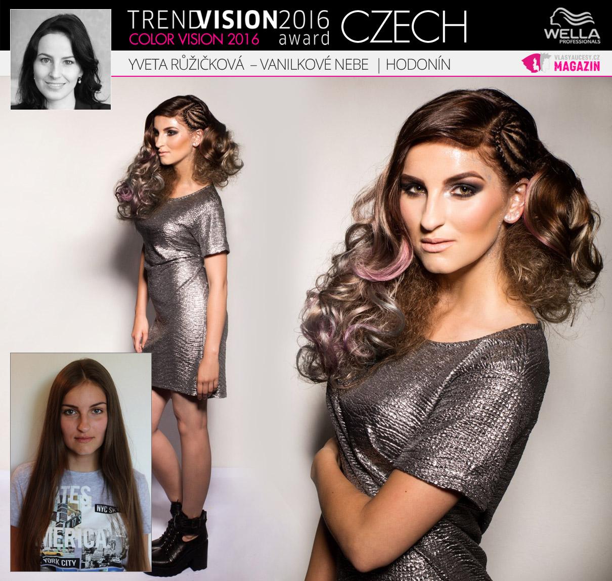 Yveta Růžičková, Vanilkové nebe, Hodonín –Wella Professionals Trend Vision Award Česká republika, kategorie Color Vision 2016.