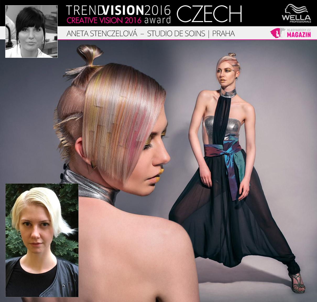 Aneta Stenczelová, Studio de Soins, Praha –Wella Professionals Trend Vision Award Česká republika, kategorie Creative Vision 2016.