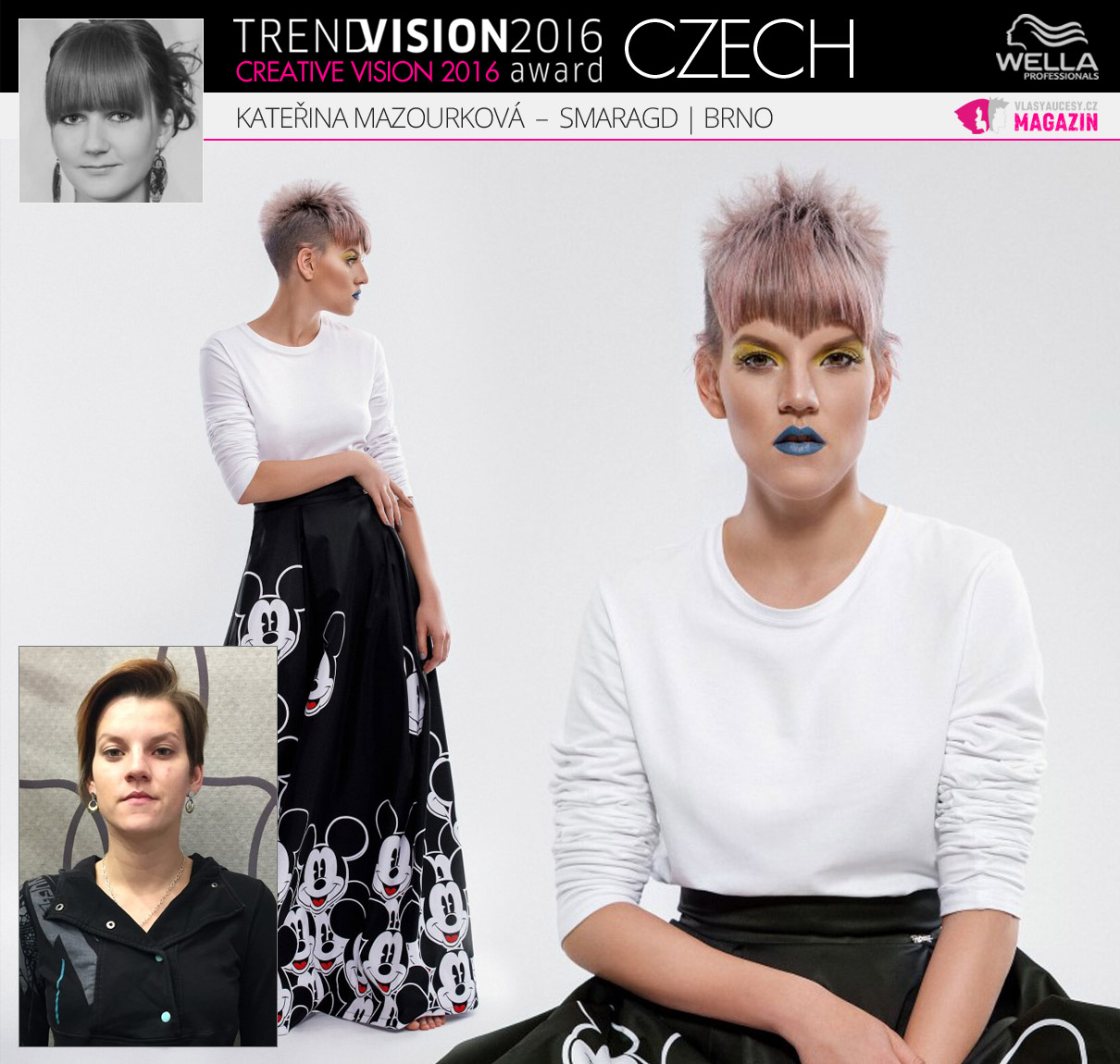 Kateřina Mazourková, Smaragd, Brno –Wella Professionals Trend Vision Award Česká republika, kategorie Creative Vision 2016.