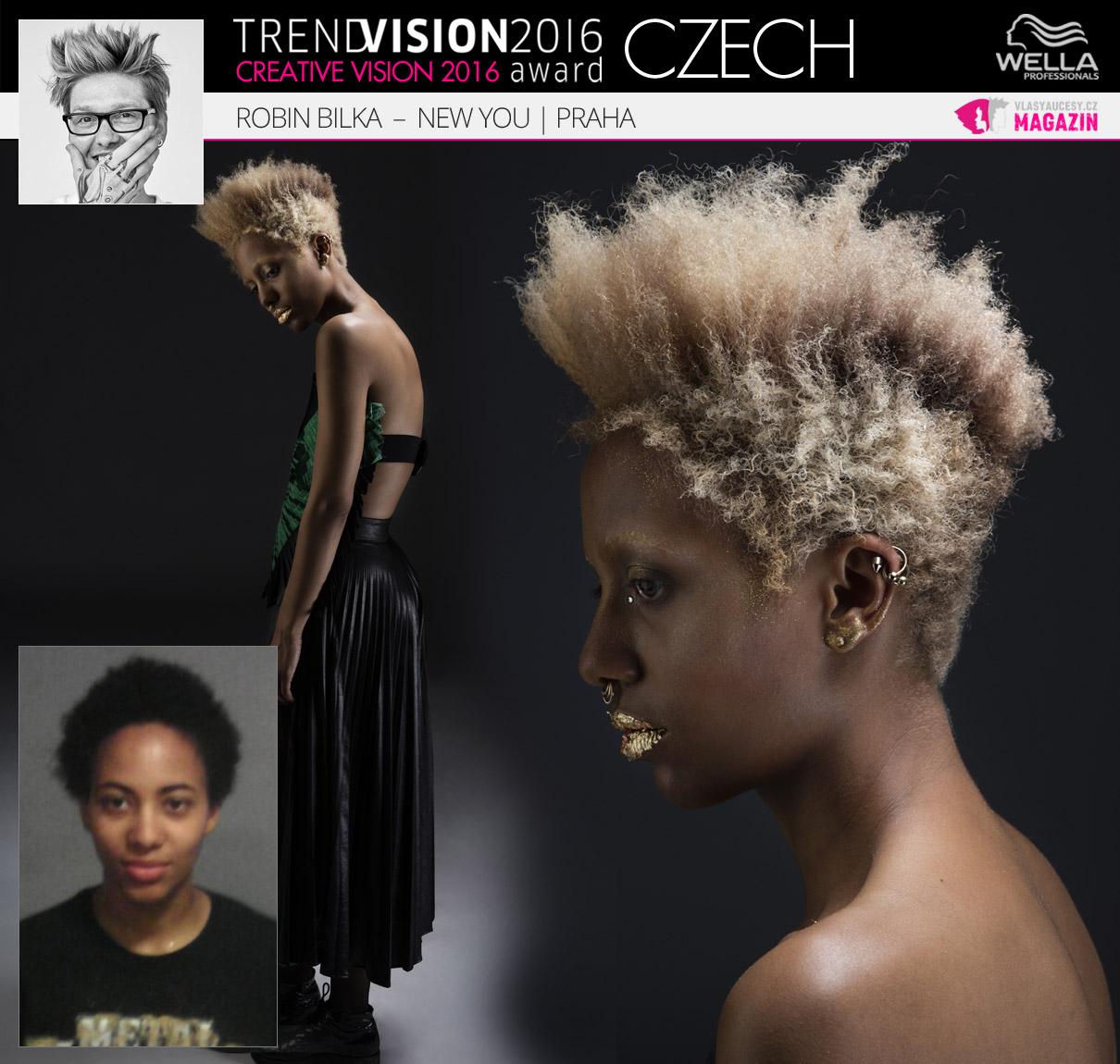 Robin Bilka, New You, Praha –Wella Professionals Trend Vision Award Česká republika, kategorie Creative Vision 2016.