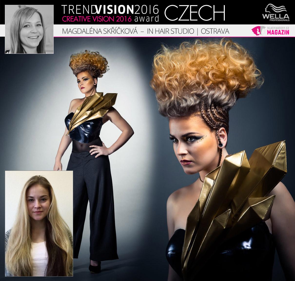 Magdaléna Skříčková, In Hair Studio, Ostrava –Wella Professionals Trend Vision Award Česká republika, kategorie Creative Vision 2016.