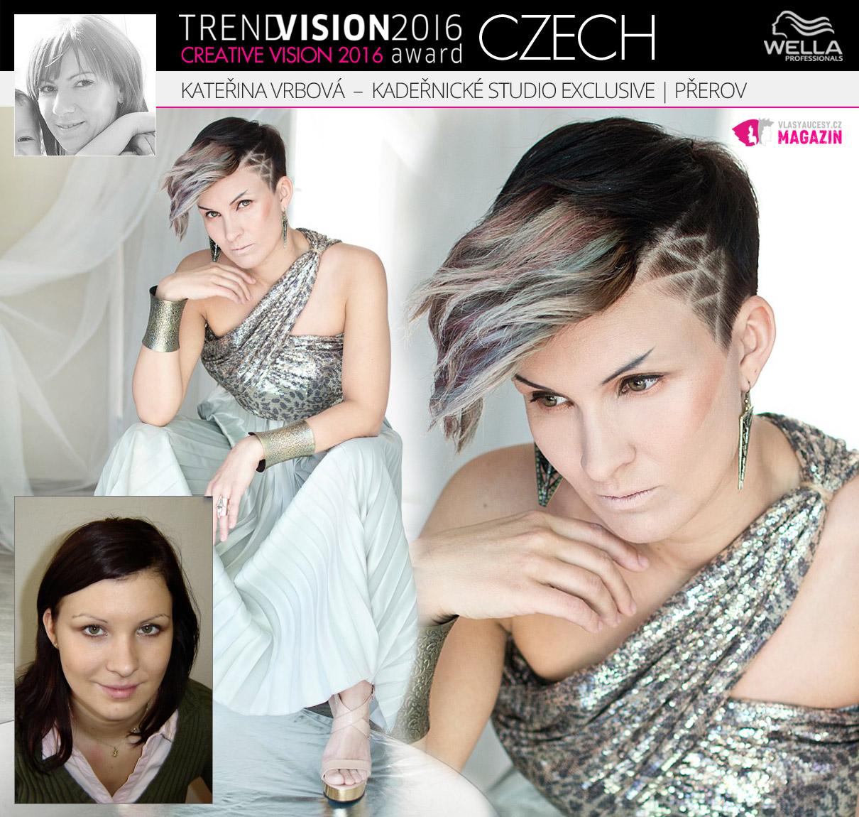 Kateřina Vrbová, Kadeřnické studio Exclusive, Přerov –Wella Professionals Trend Vision Award Česká republika, kategorie Creative Vision 2016.