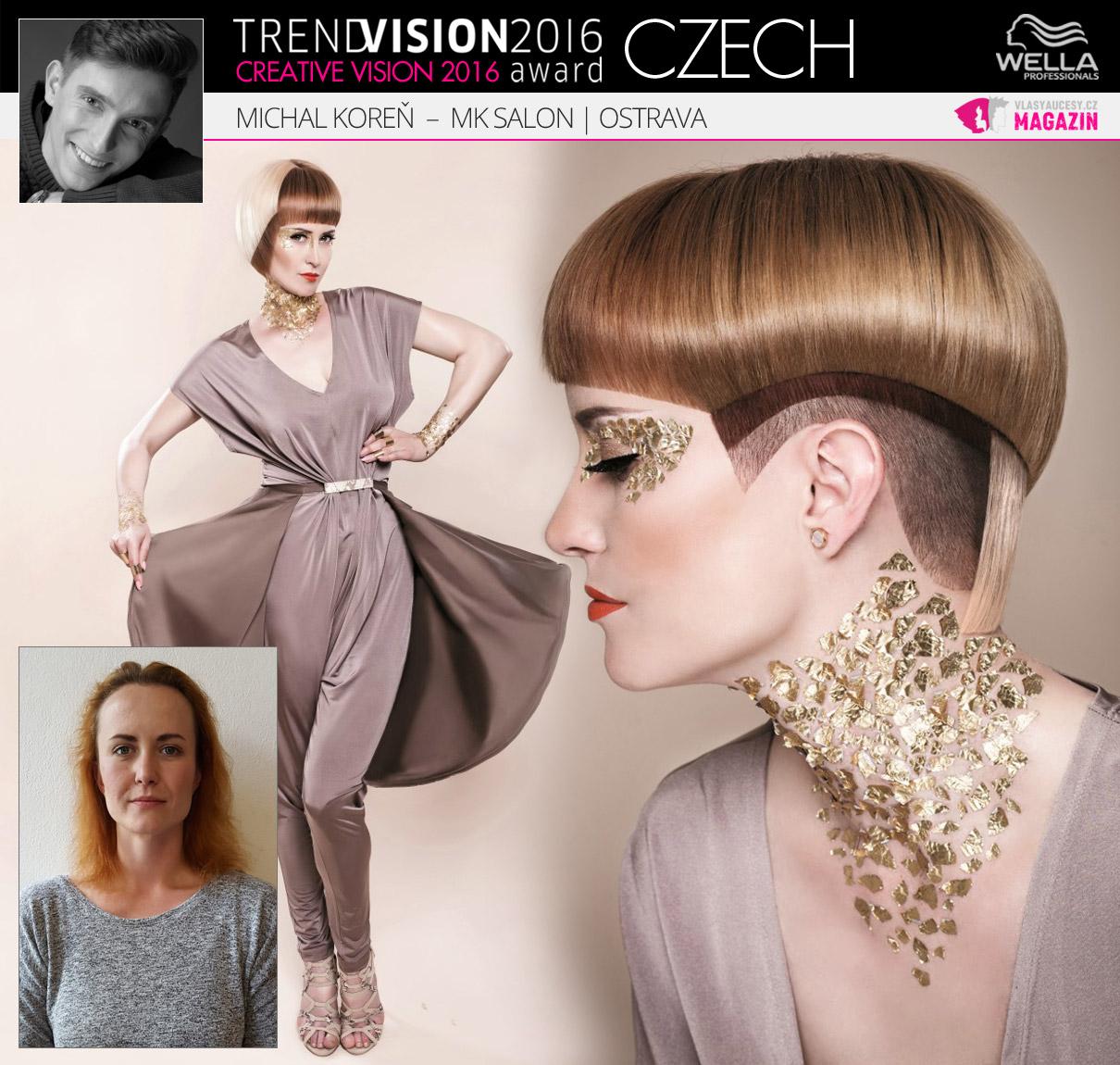 Michal Koreň, MK Salon, Ostrava –Wella Professionals Trend Vision Award Česká republika, kategorie Creative Vision 2016.