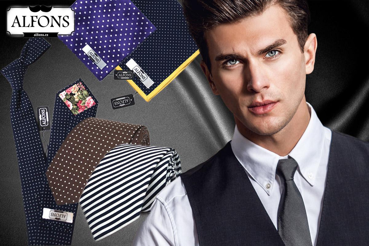 K moderní pánské eleganci patří pořád kravata, ale dnešní švihák si s ní nevystačí. Symbolem novodobého dandyho se stal kapesníček do saka – kdykoliv a kamkoliv. (Pánské kravaty a kapesníčky do saka koupíte v e-shopu Alfons.cz.)