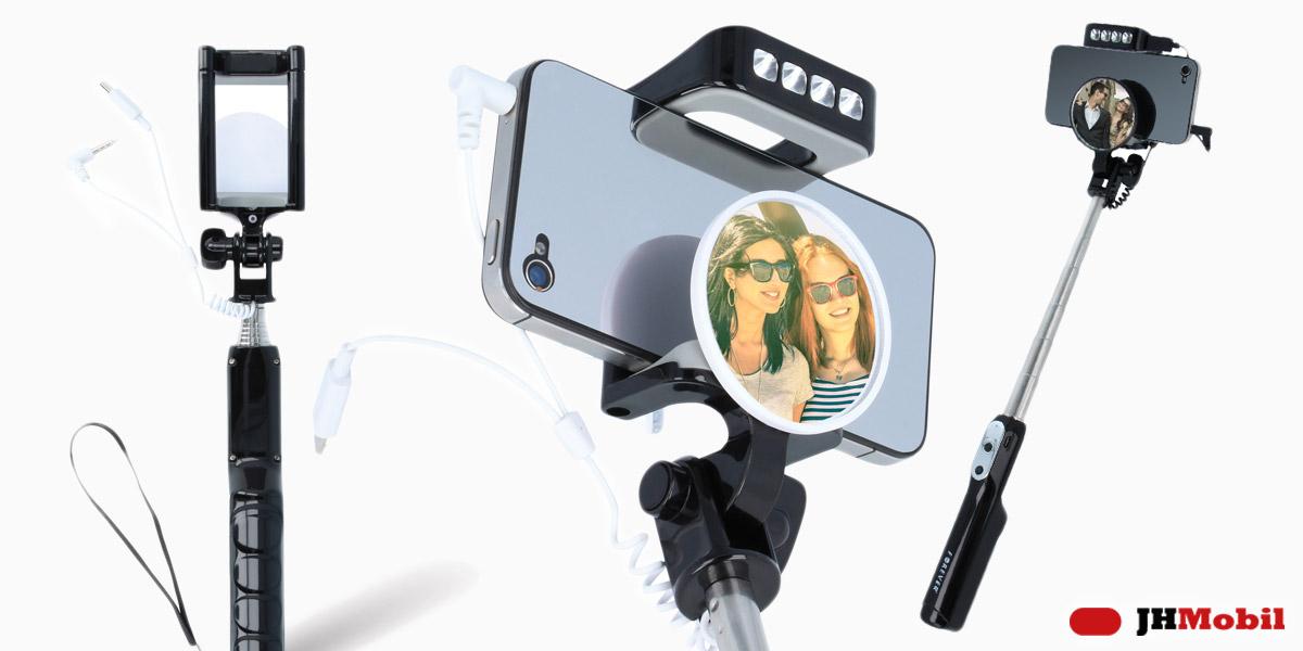 Selfie tyč PMP-05 advance s LED osvětlením pro 72 hodin provozu v obtížných podmínkách a se zrcátkem pro usnadnění fotografování.