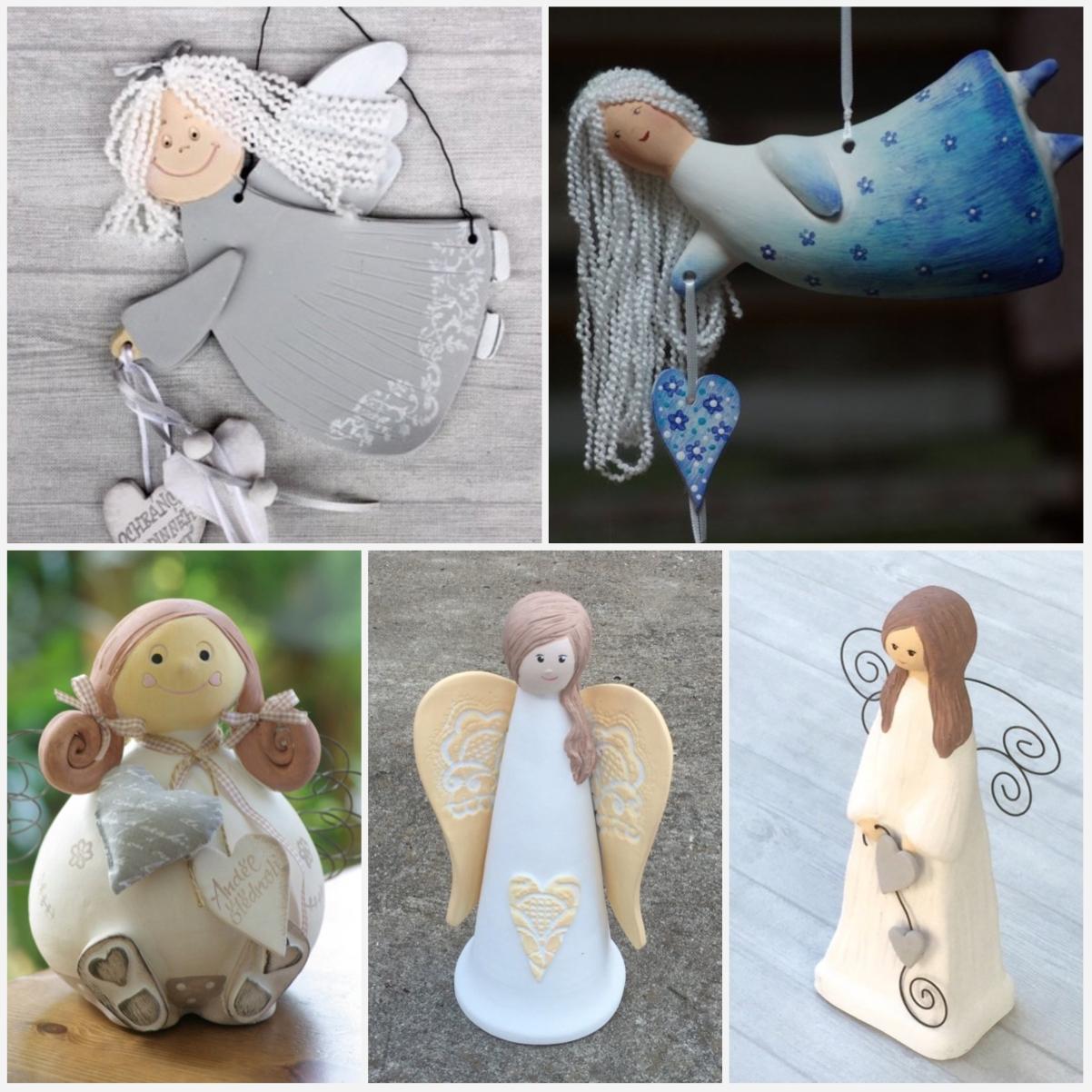 Anděl patří mezi symboly Vánoc i mezi oblíbené motivy pro různé dárky. Keramičtí andělé na obrázku jsou z dílny Keramika Andreas.