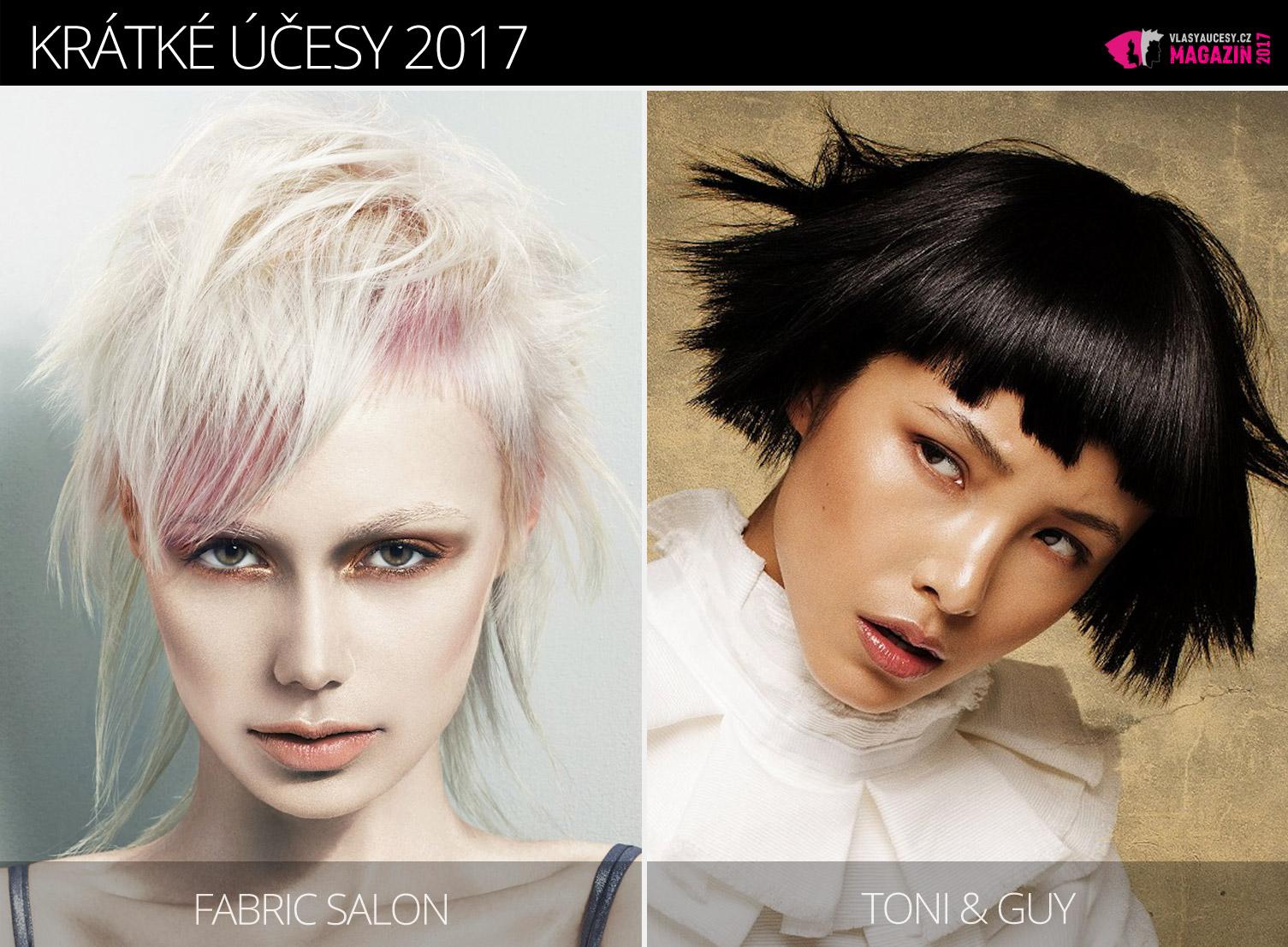 Tipy redakce magazínu Vlasy a účesy na trendy krátké účesy zima 2017. Účesy pro krátké vlasy 2017 jsou z kolekcí Fabric Salon a Toni&Guy.