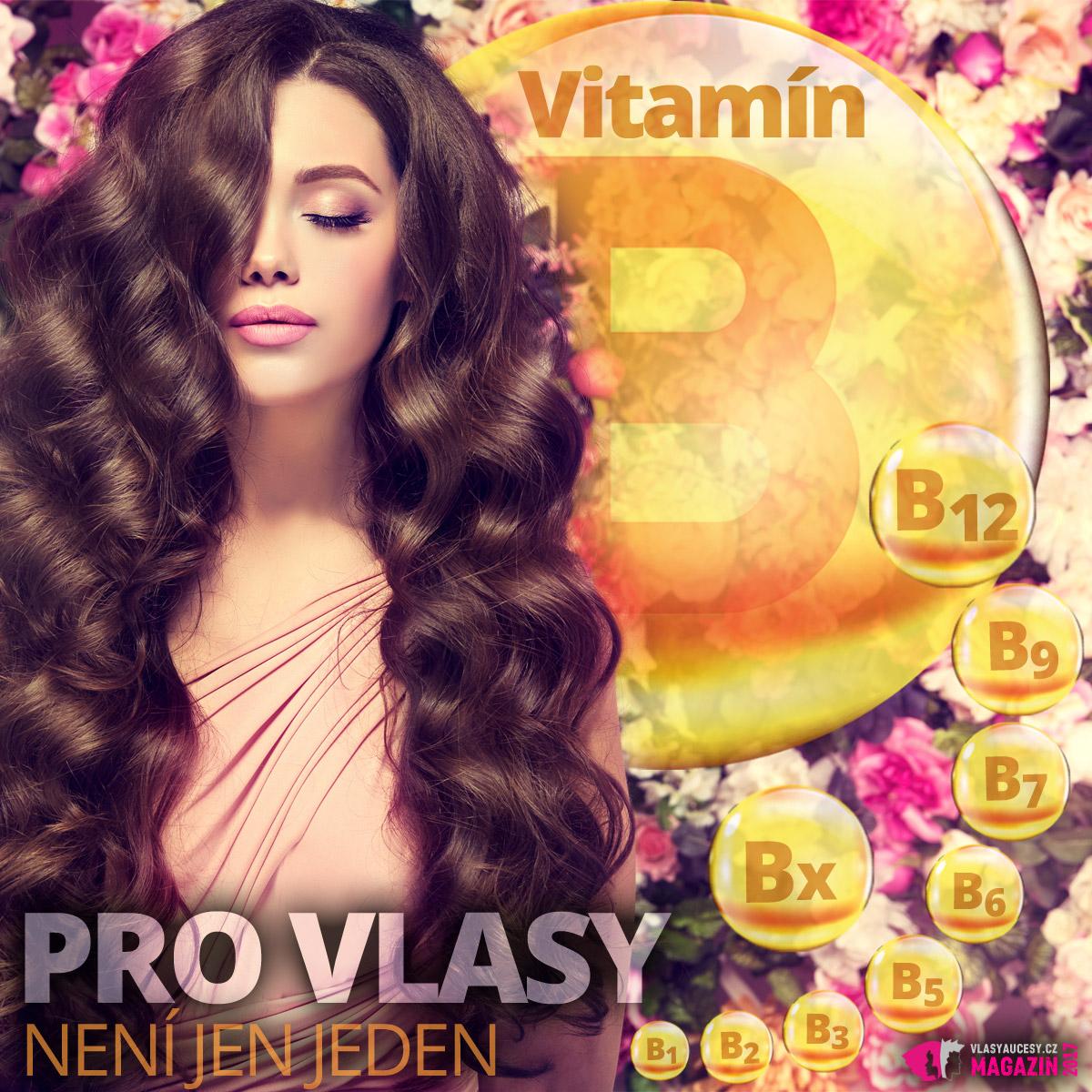 Vitamín B pro vlasy není jen jeden. Pro vlasy je důležitý thiamin (vitamín B1), riboflavin (vitamín B2), niacin (vitamín B3), kyselina pantotenová (vitamín B5), pyridoxin (vitamín B6), biotin (vitamín B7), kyselina listová (vitamín B9), kobalamin (vitamín B12) i kyselina para-aminobenzoová (PABA –Bx).