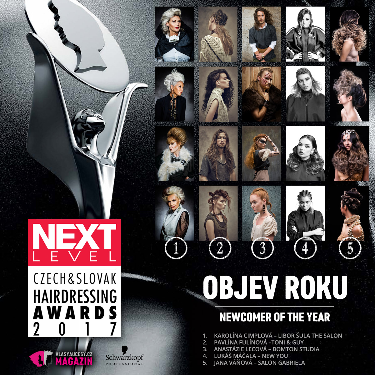 Czech&Slovak Hairdressing Awards 2017 – kategorie Objev roku / Newcomer of the Year.
