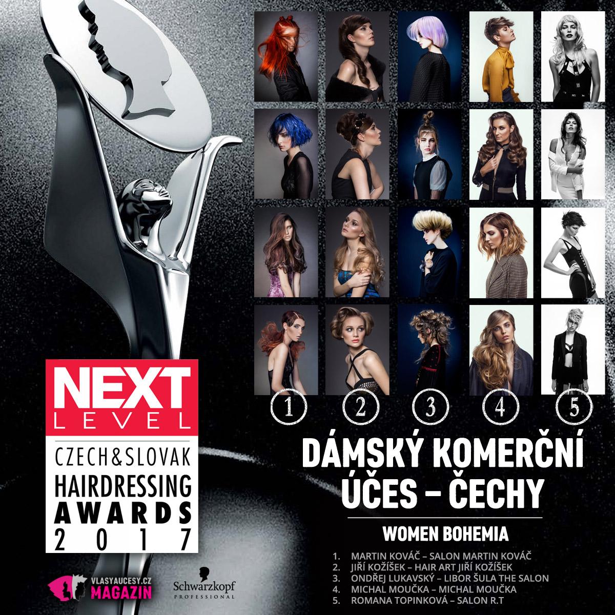Czech&Slovak Hairdressing Awards 2017 – kategorie Dámský komerční účes Čechy.