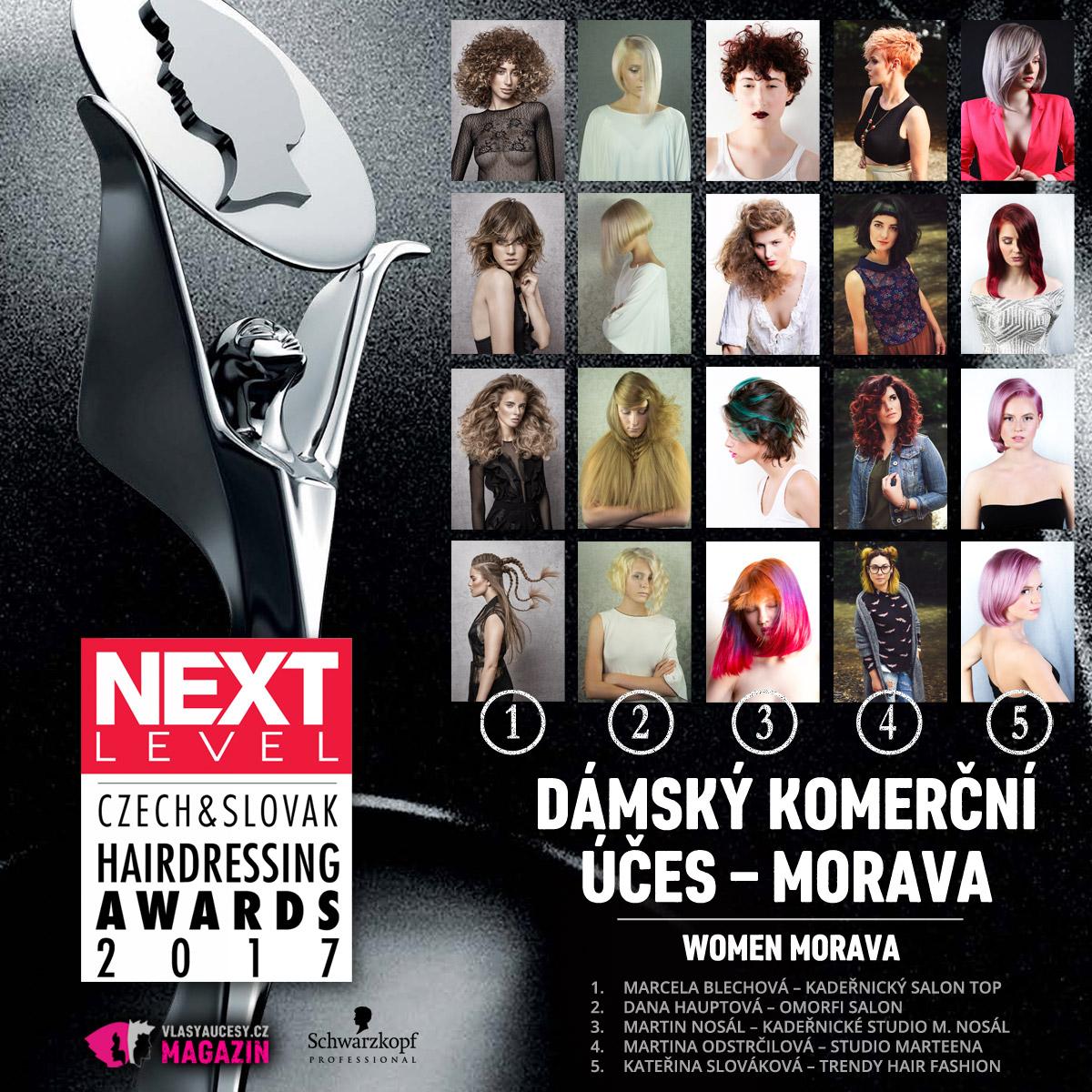 Czech&Slovak Hairdressing Awards 2017 – kategorie Dámský komerční účes Morava.