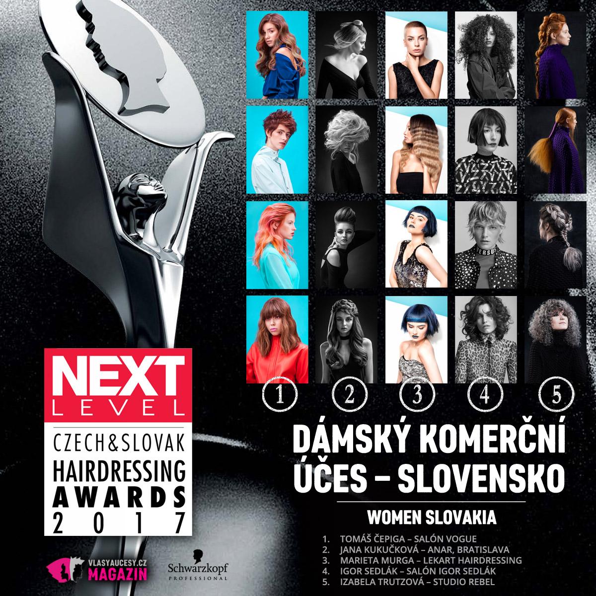 Czech&Slovak Hairdressing Awards 2017 – kategorie Dámský komerční účes Slovensko.